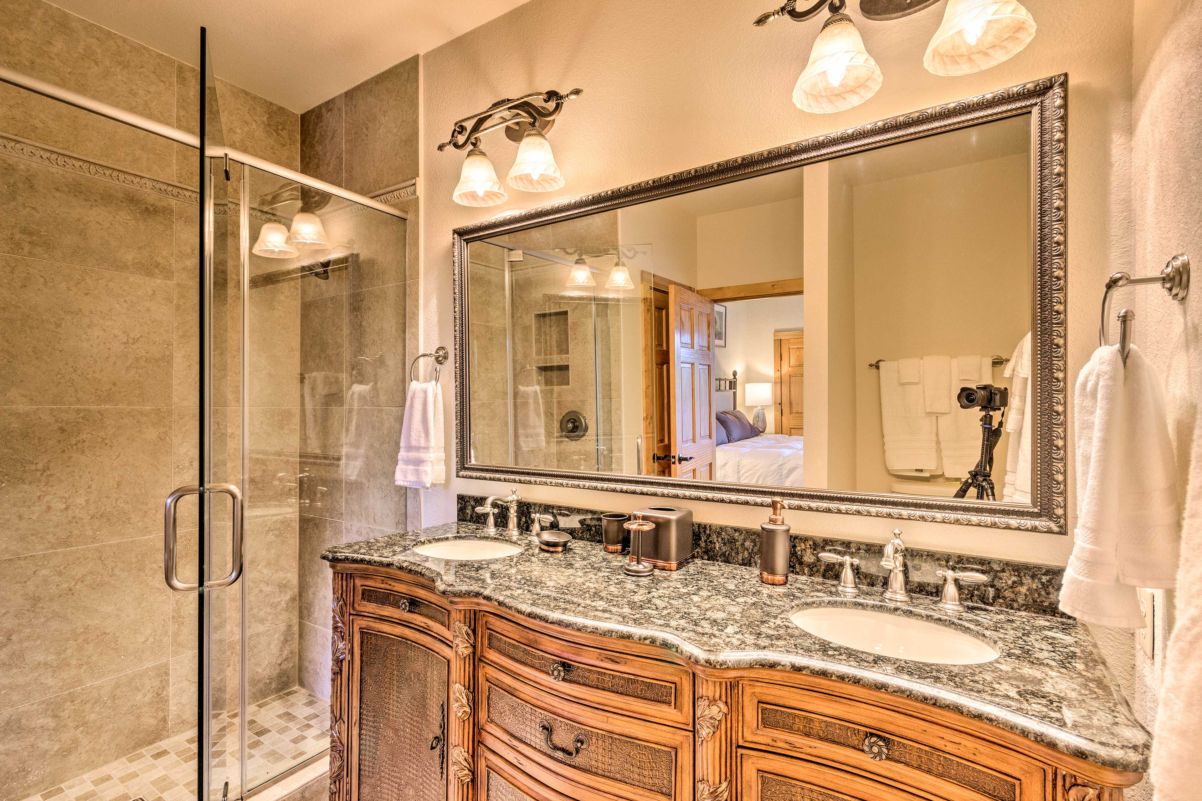 Dual sinks and a walk-in shower make getting ready a breeze!