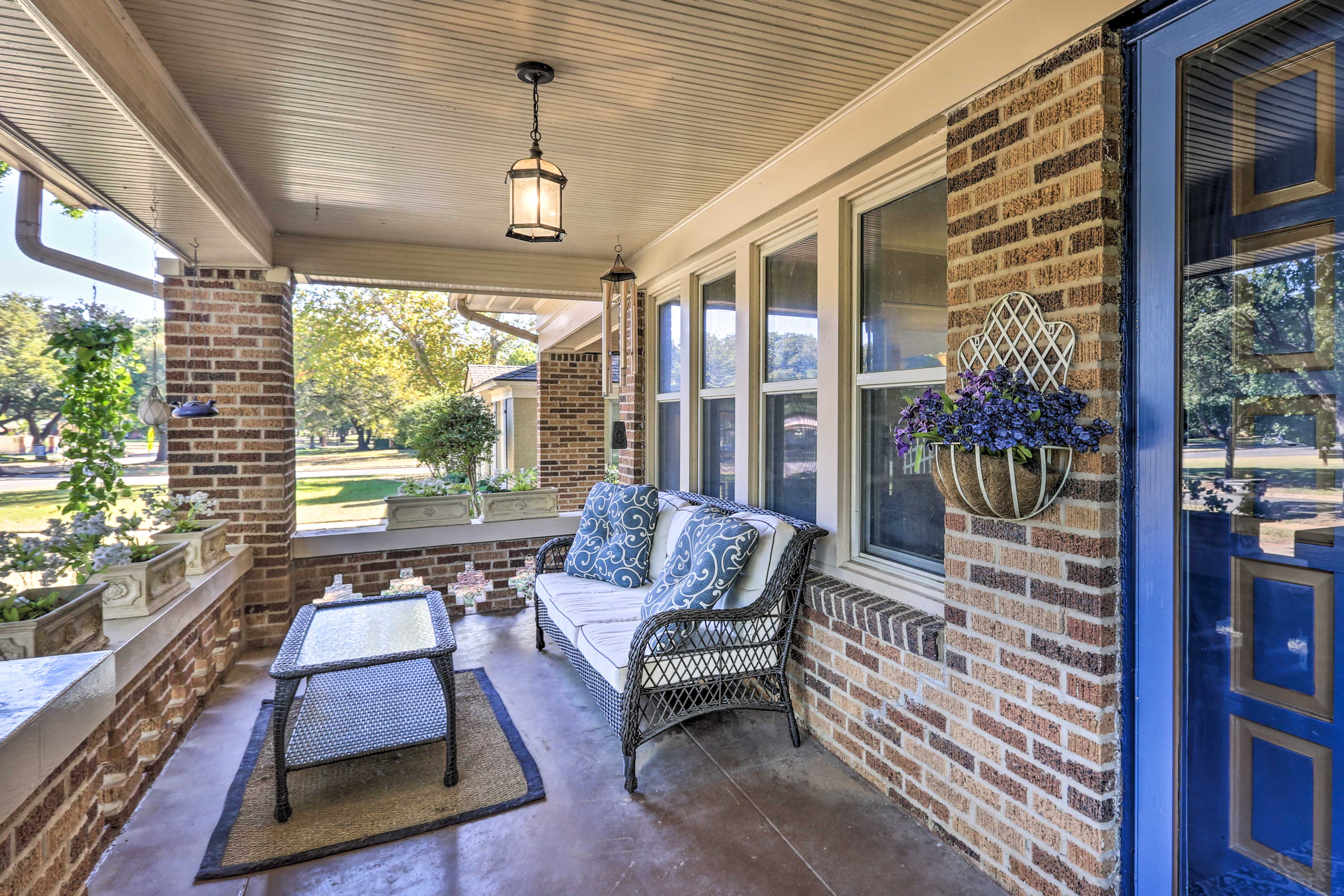 Enjoy a glass of wine out on the front porch!