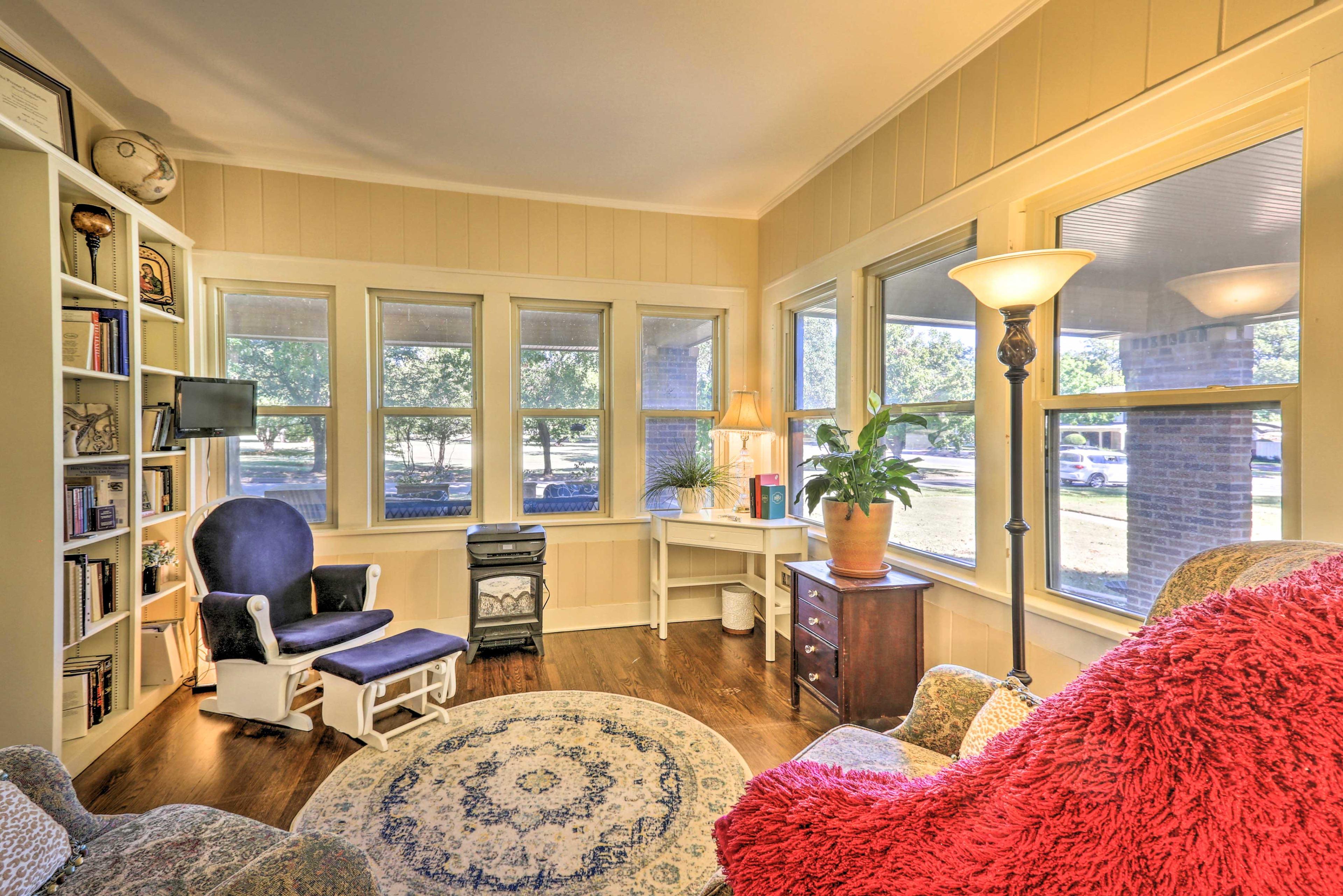 Original hardwood floors complete this North Texas abode.