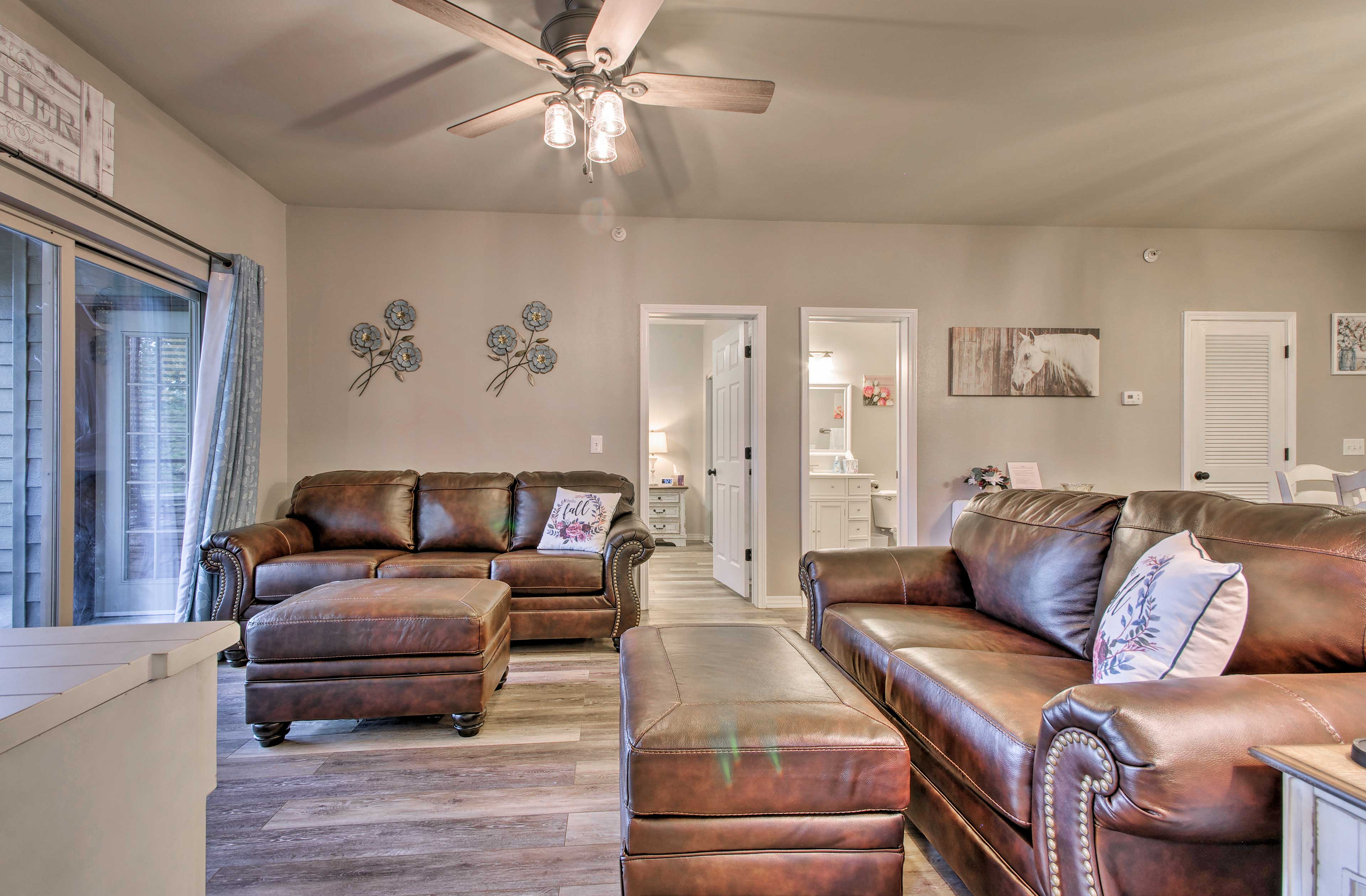 Sit and relax in the inviting living room.