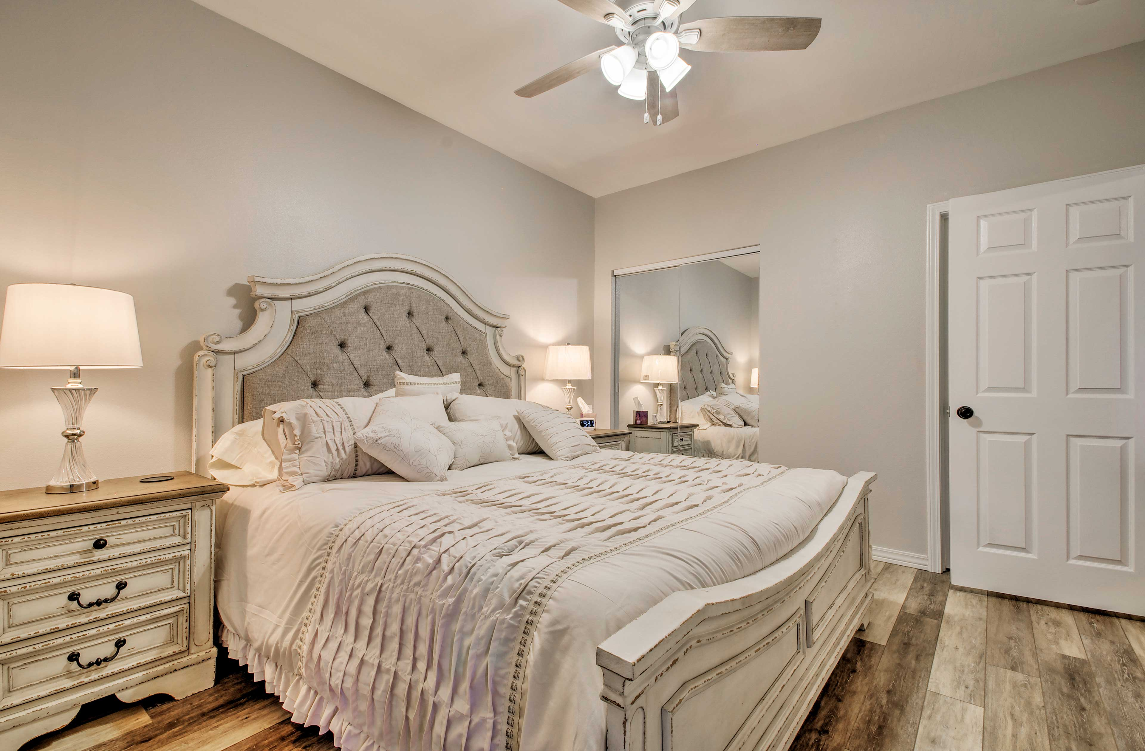 Wake up rested in this comfy bed.