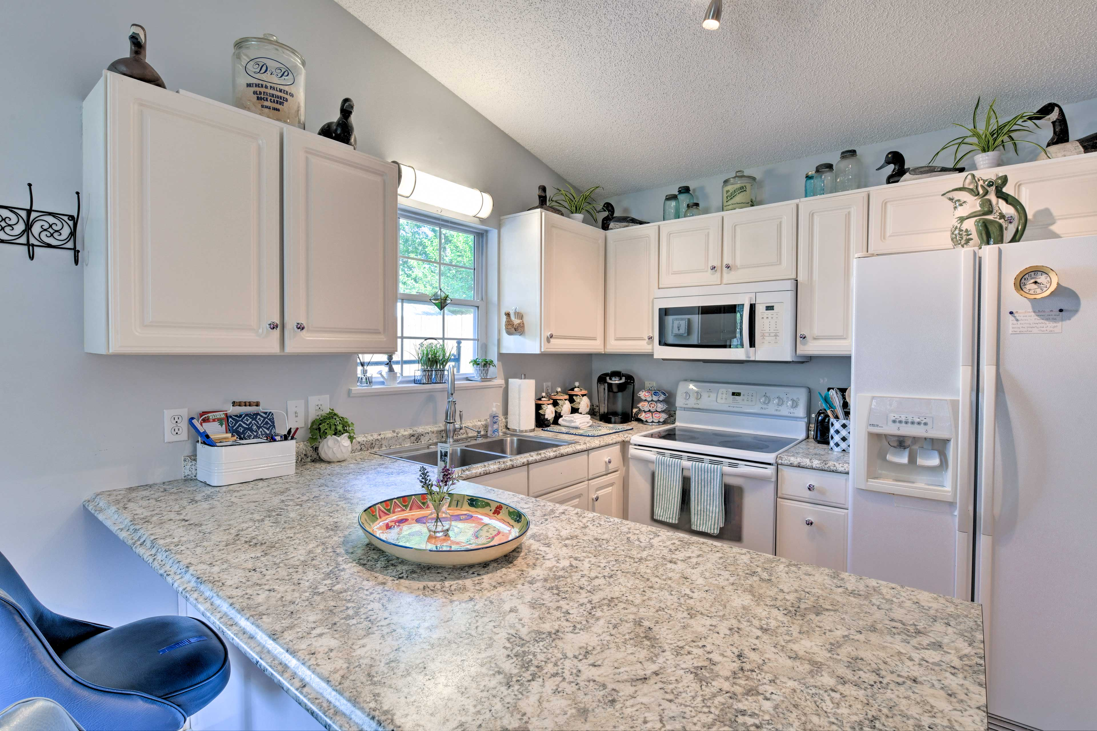The kitchen is fully equipped with all your cooking needs.