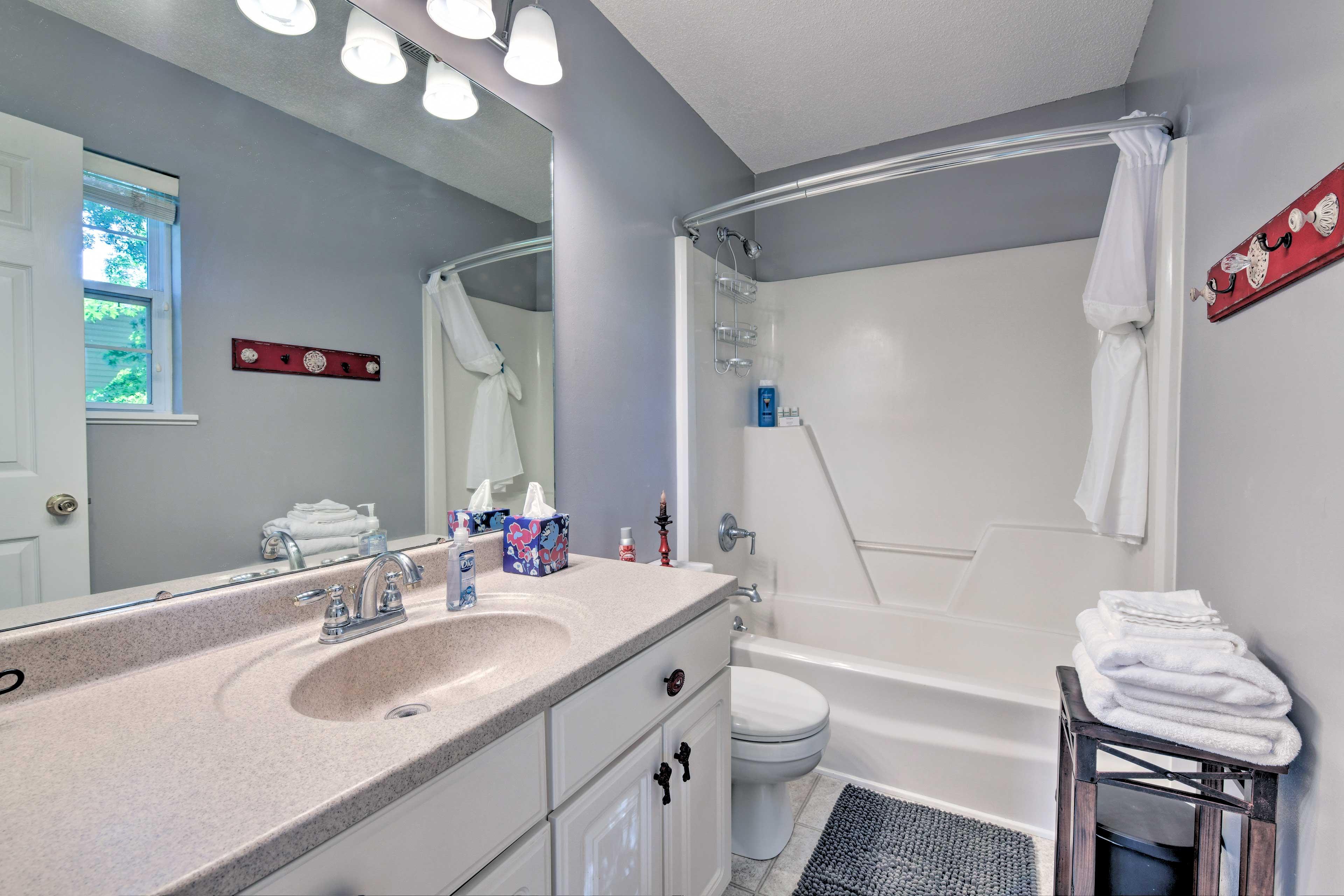 Get ready in the private en-suite bathroom.