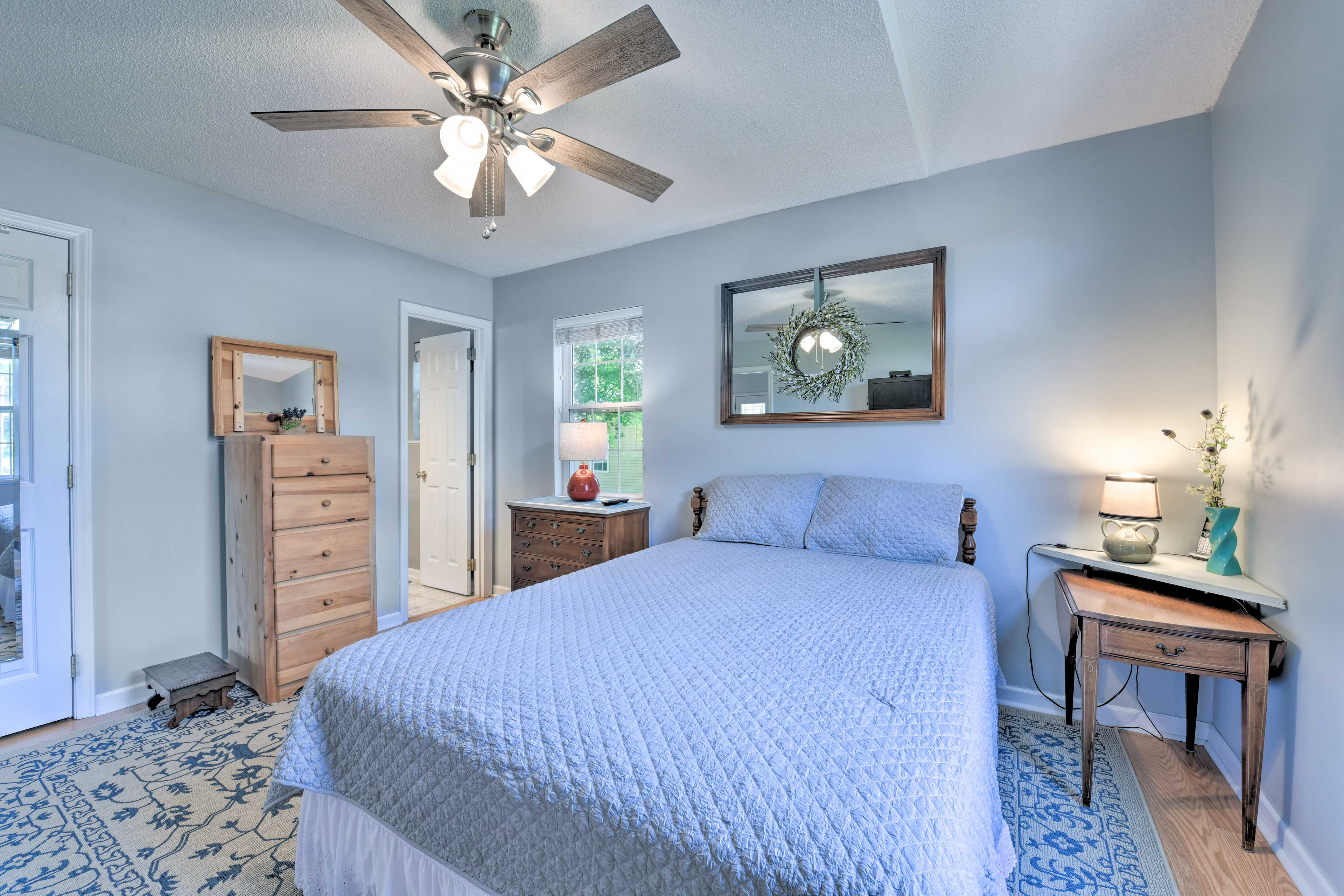 Turn the ceiling fan on for a breeze while you sleep!