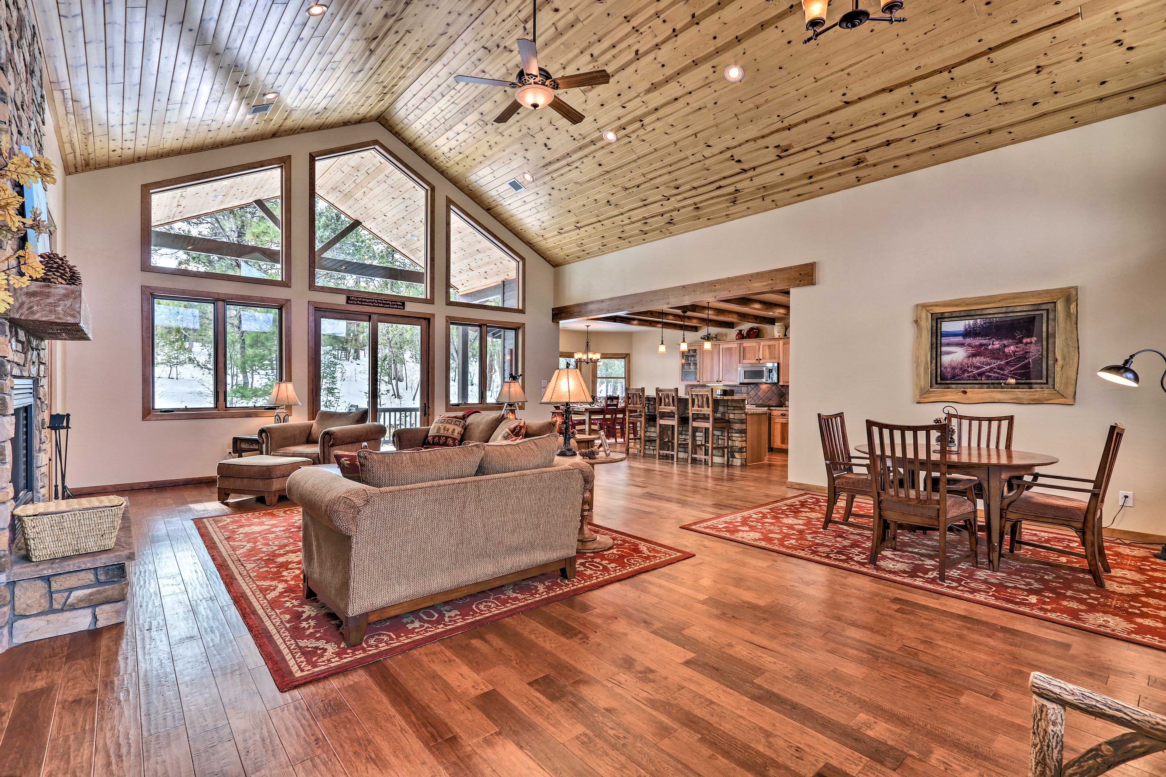 Grand floor-to-ceiling windows bring the outdoors inside!