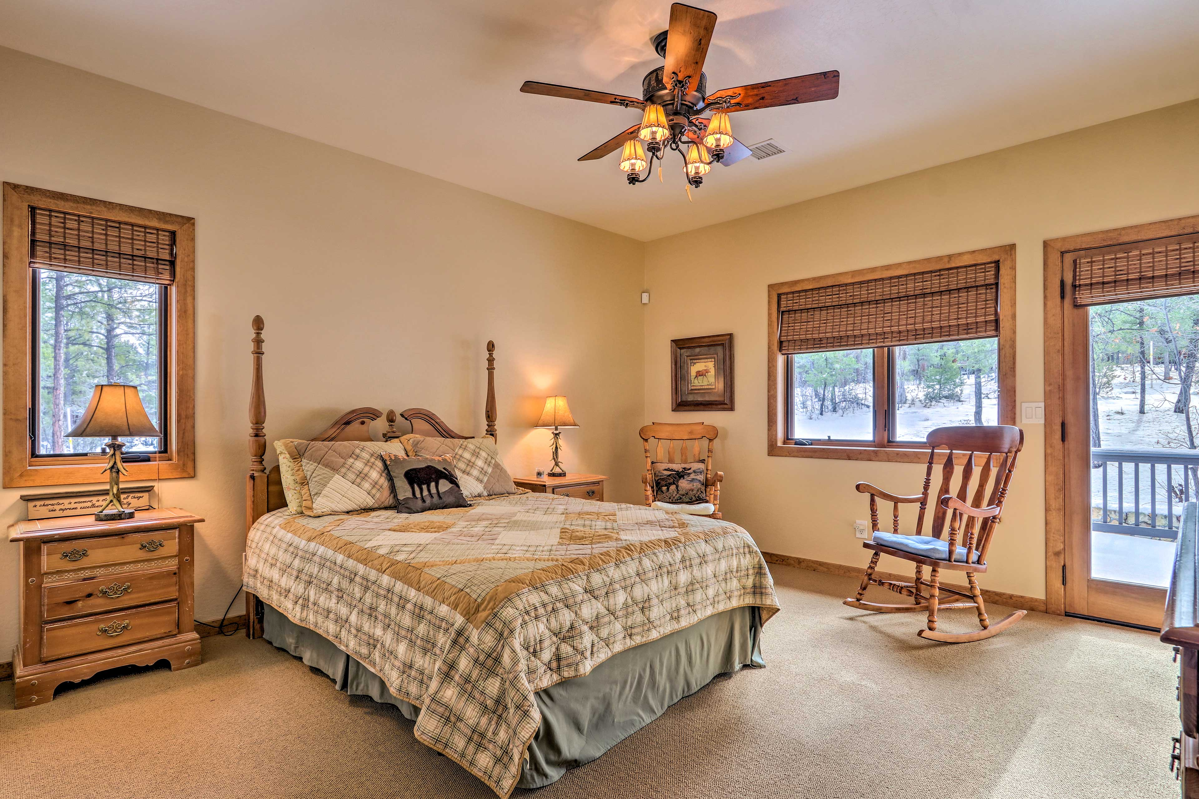 This queen room also has direct deck access.