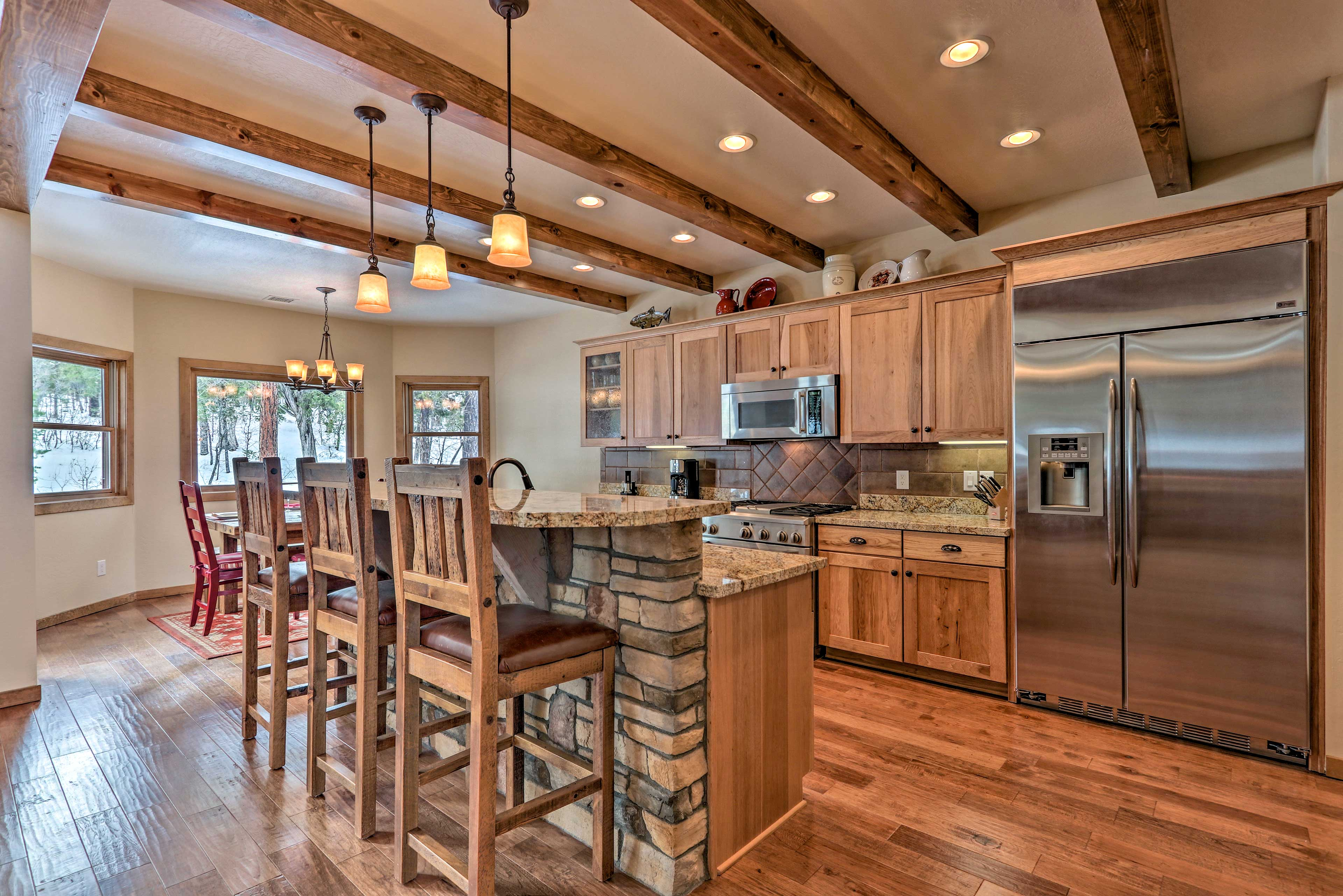 Easily prepare meals for up to 10 guests in this spacious kitchen.