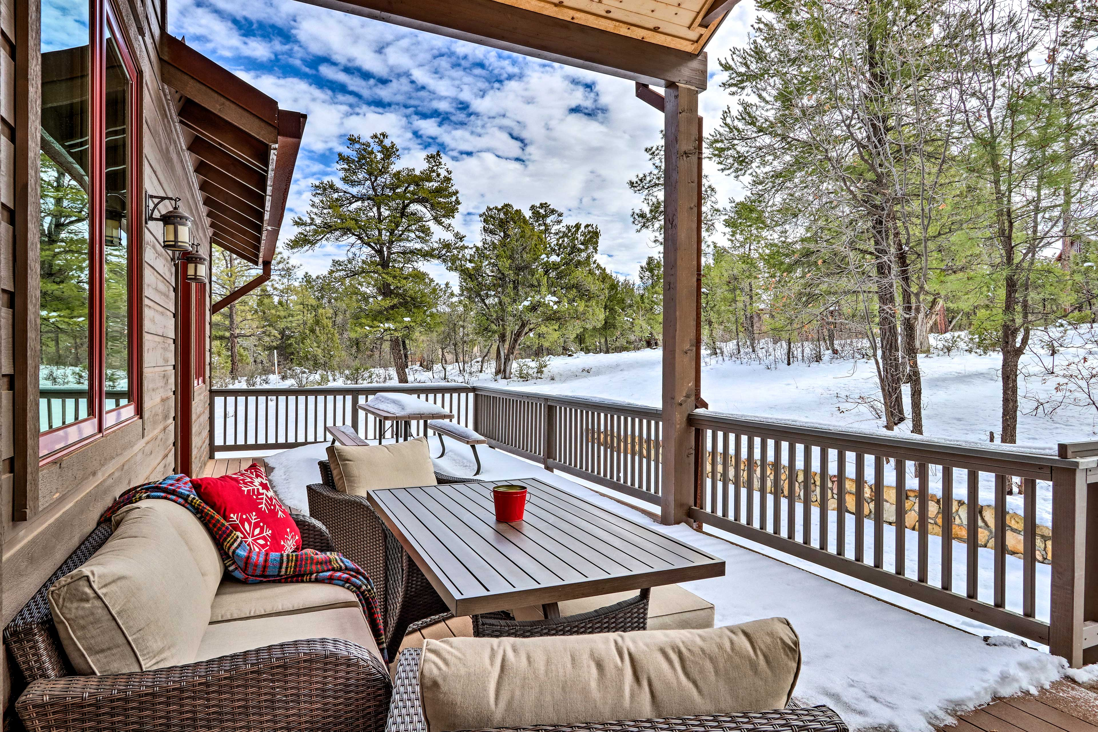 This vacation rental home features peaceful forest views.