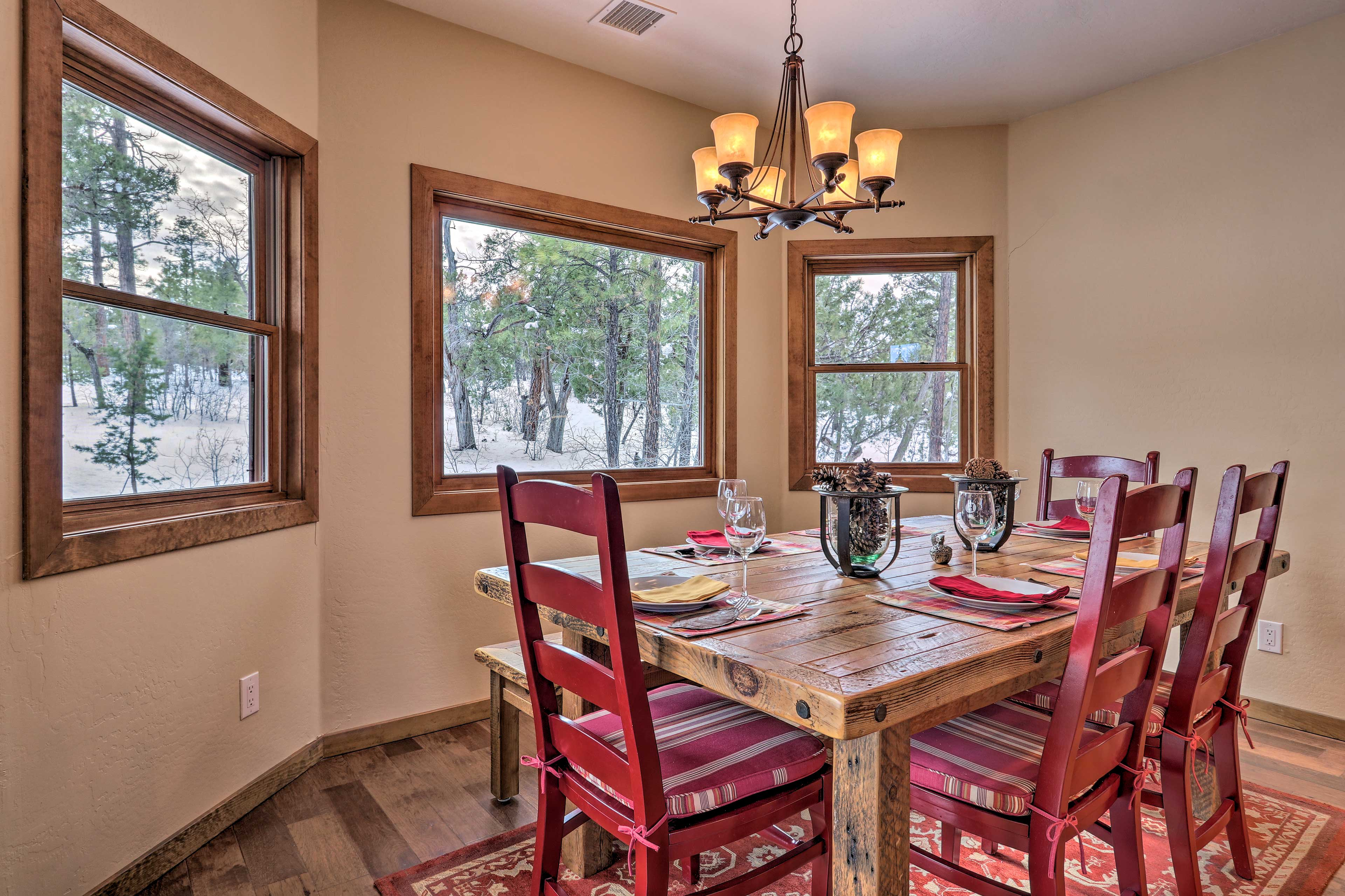 Wine and dine in the comfort of your home-away-from-home.
