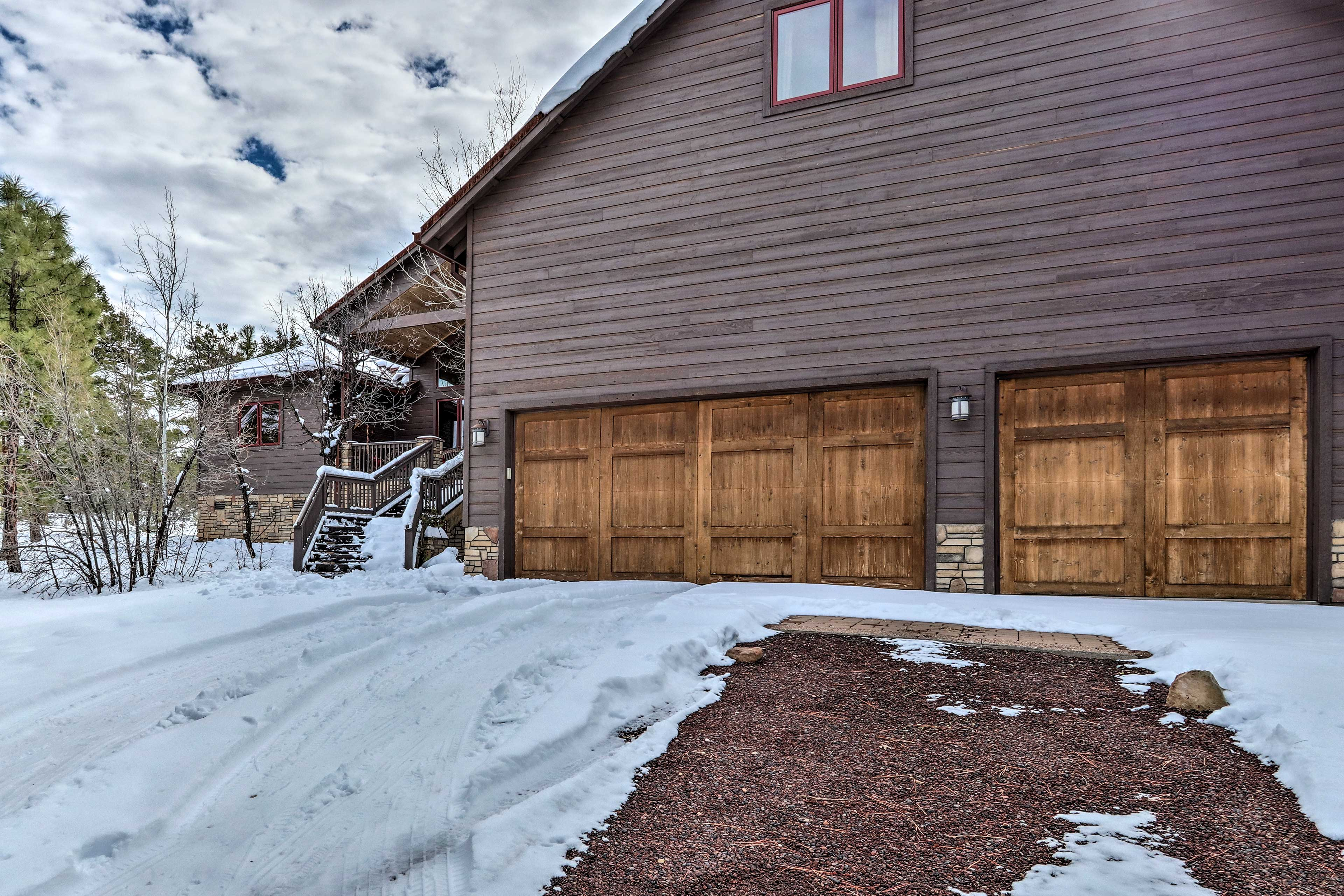 Parking is available in both the garage and driveway.