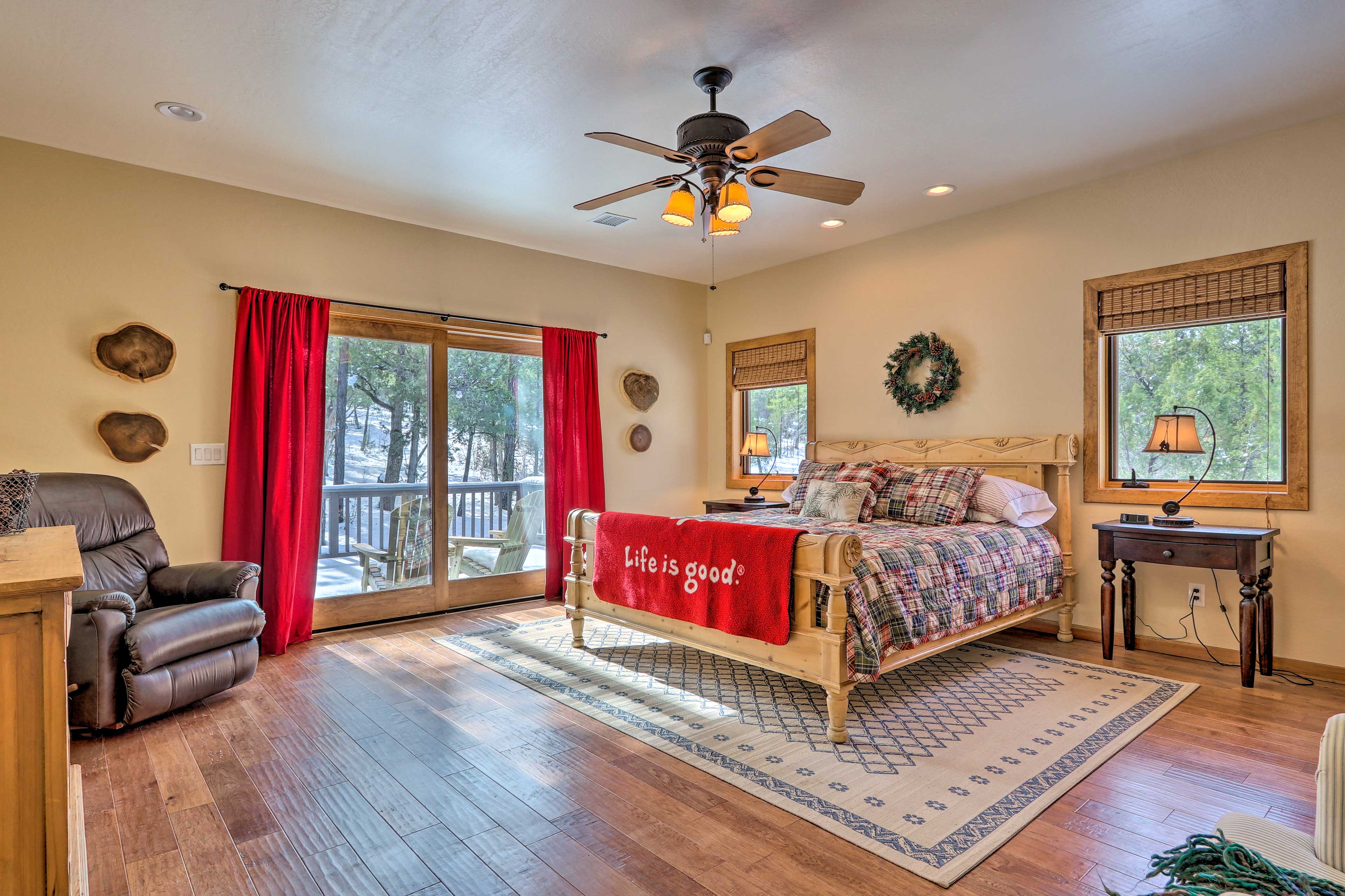 Claim the master bedroom for its deck access and California king bed.