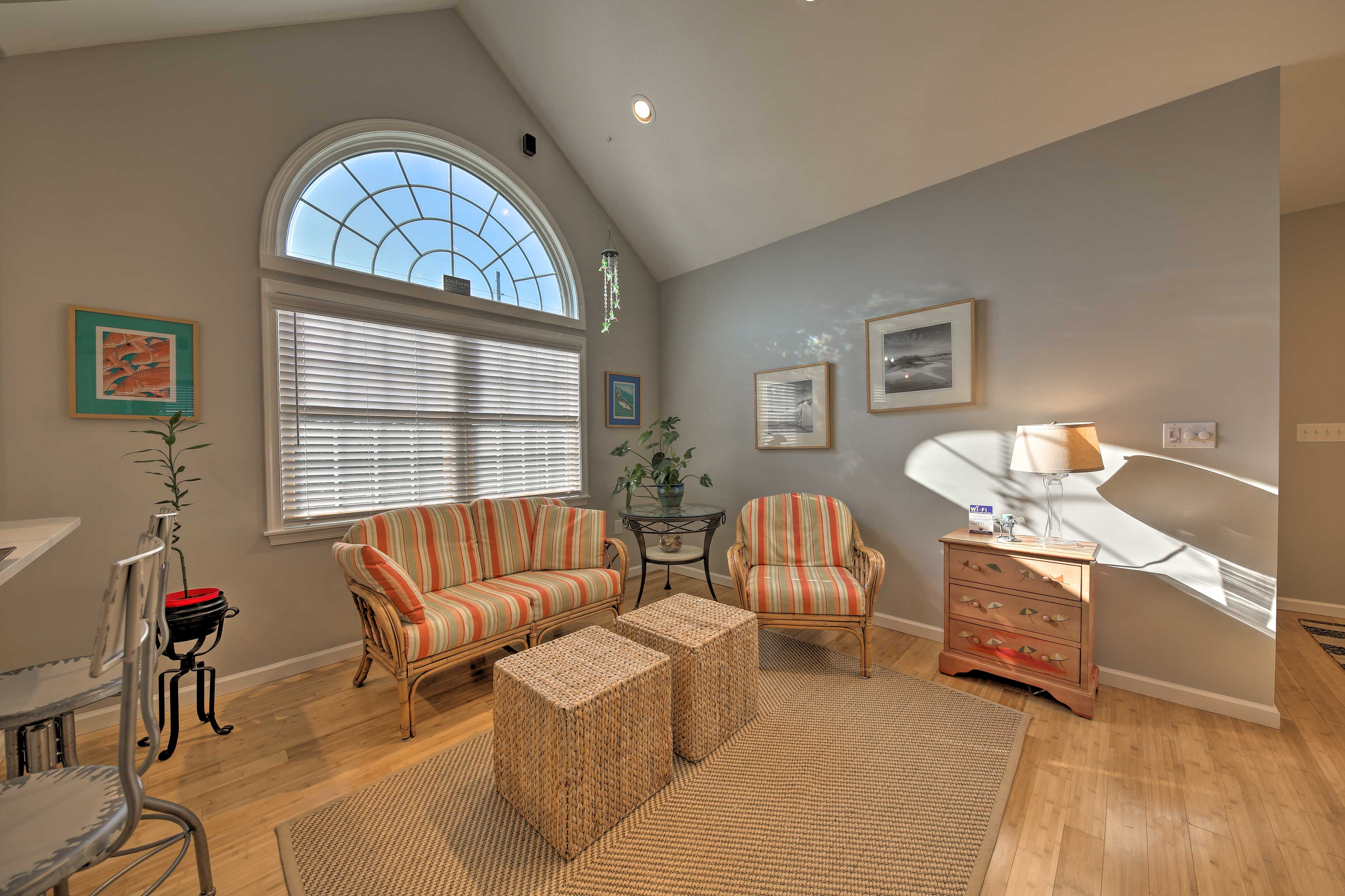 Lofted ceilings create a warm, inviting interior.
