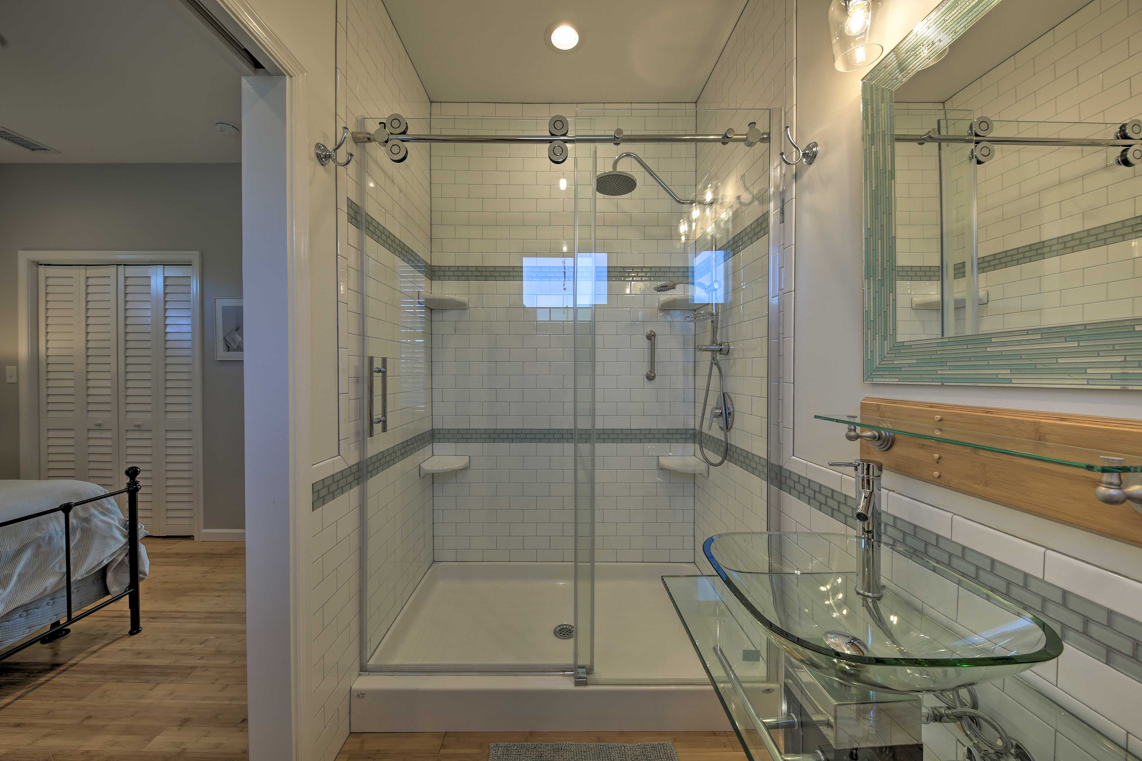 Rinse off in the high-end shower.
