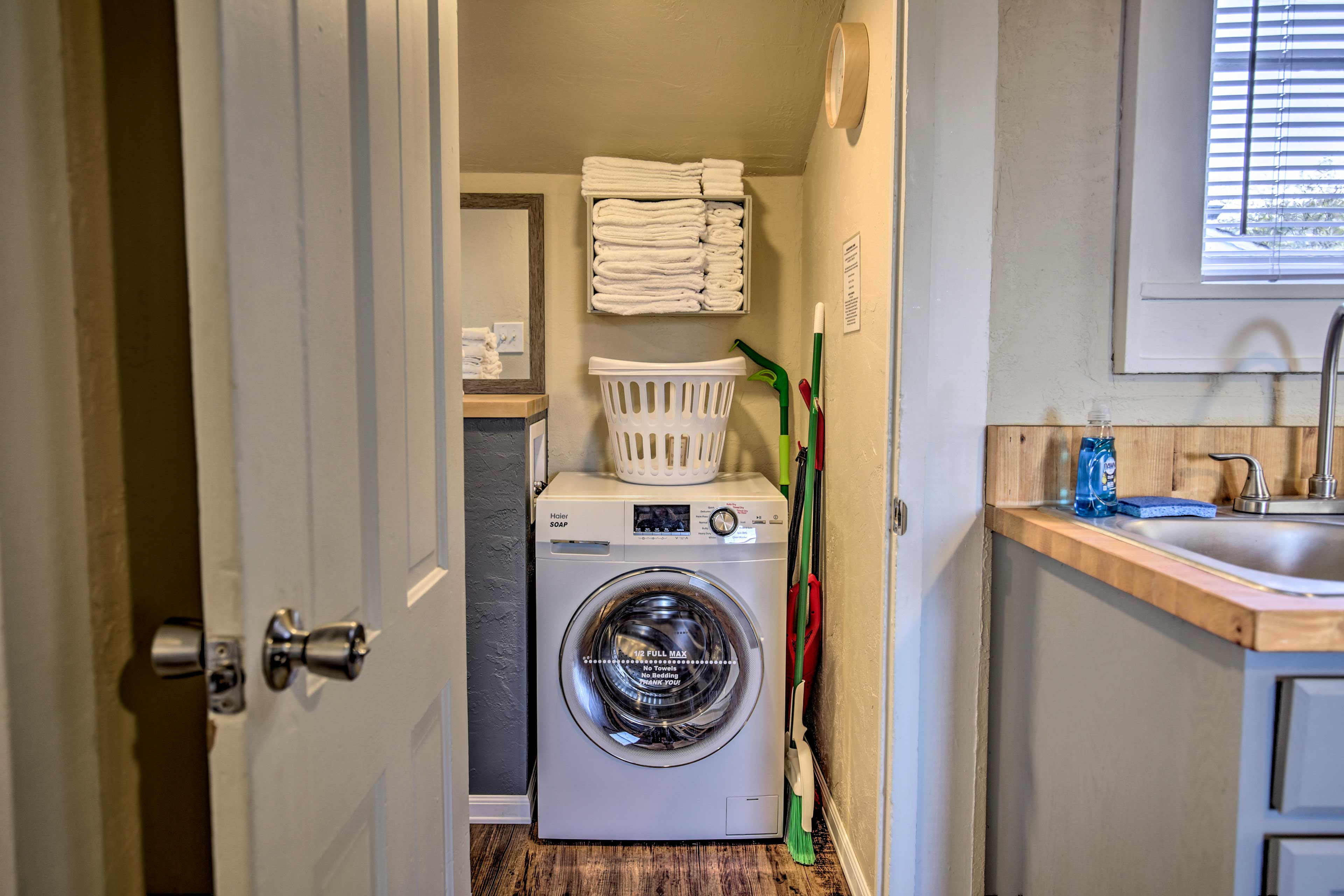 Stick a load of laundry in during your stay.