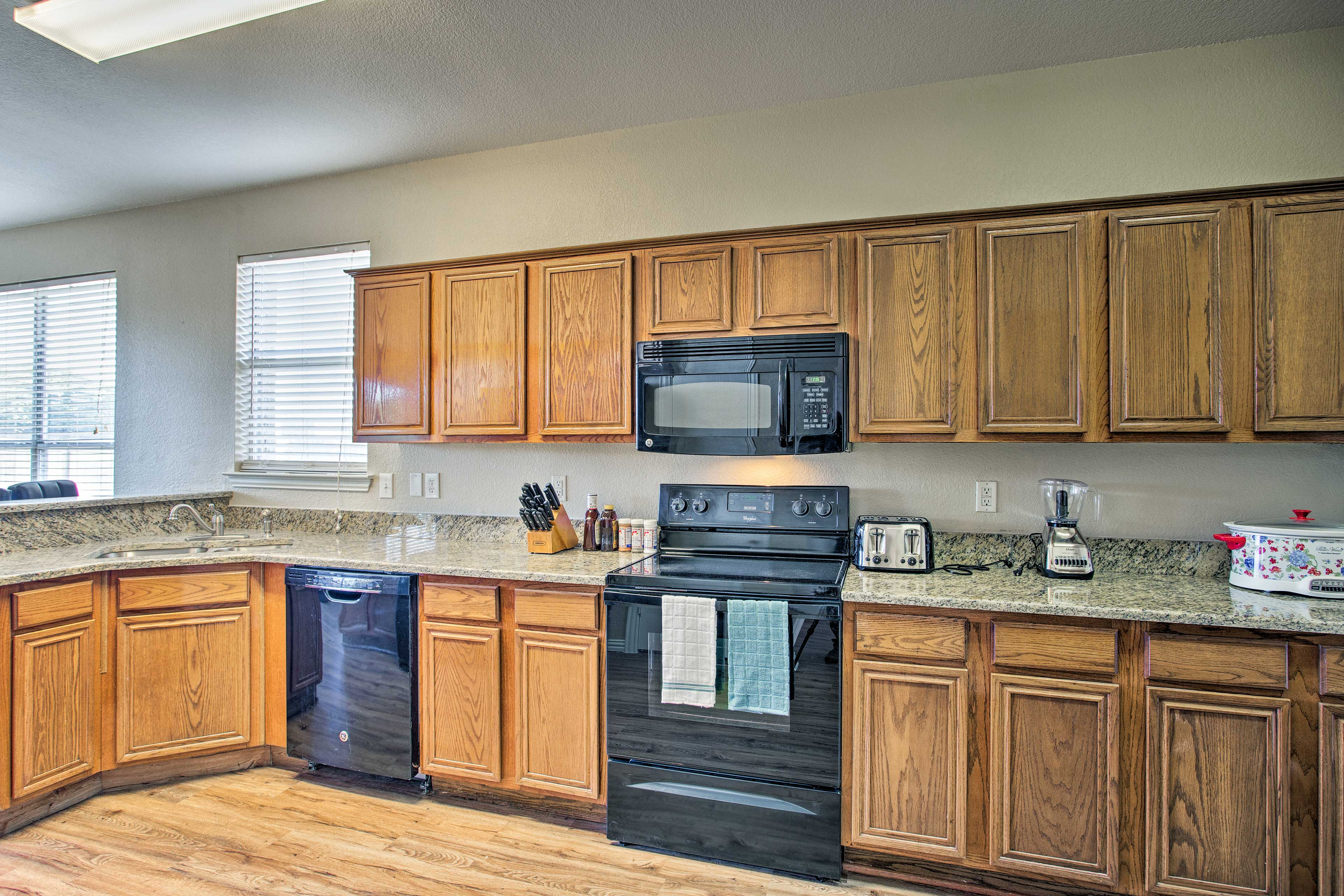 The kitchen is fully equipped with all the appliances you need.