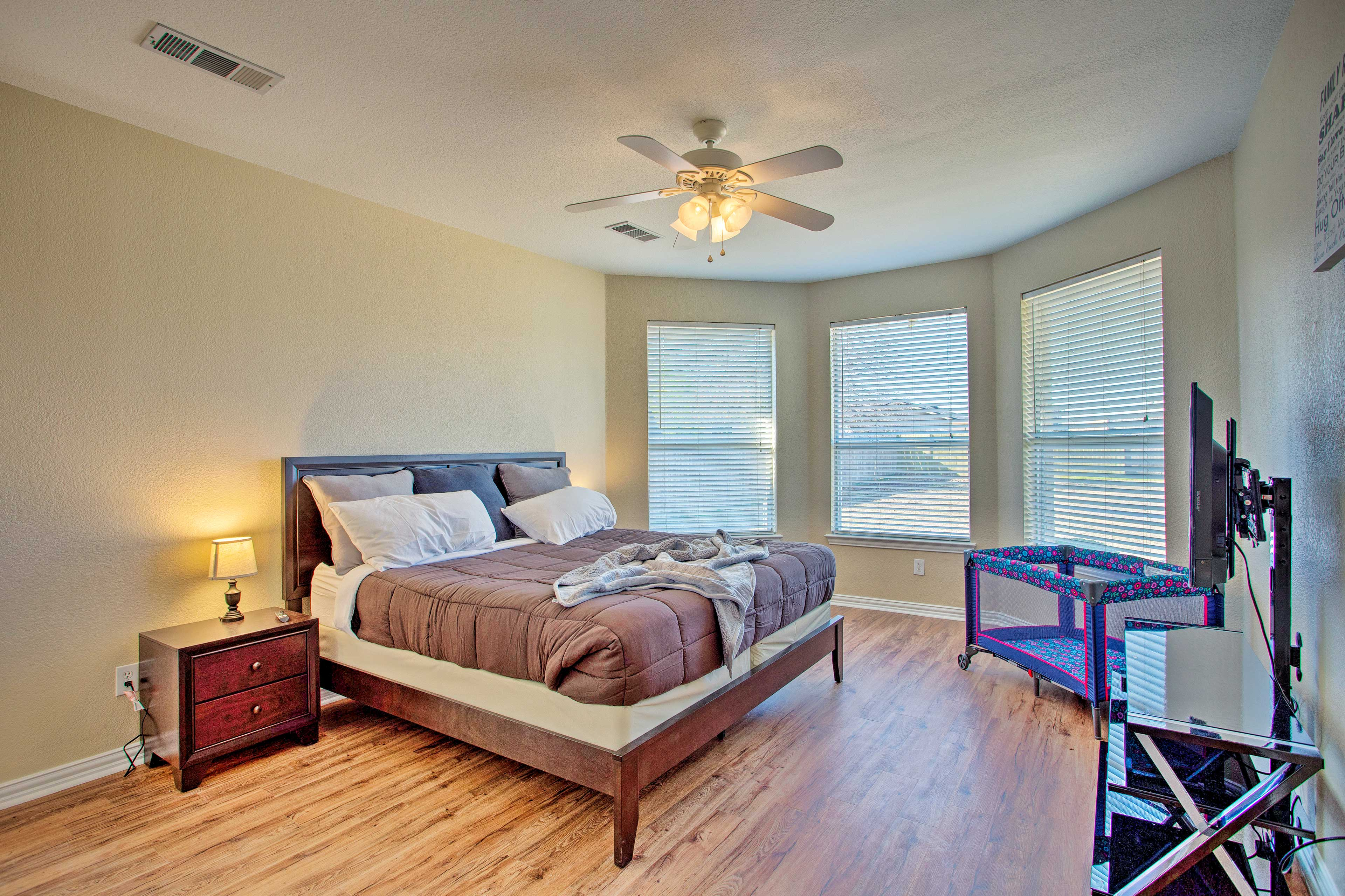 Get some quality rest in the king-sized bed in the master bedroom.