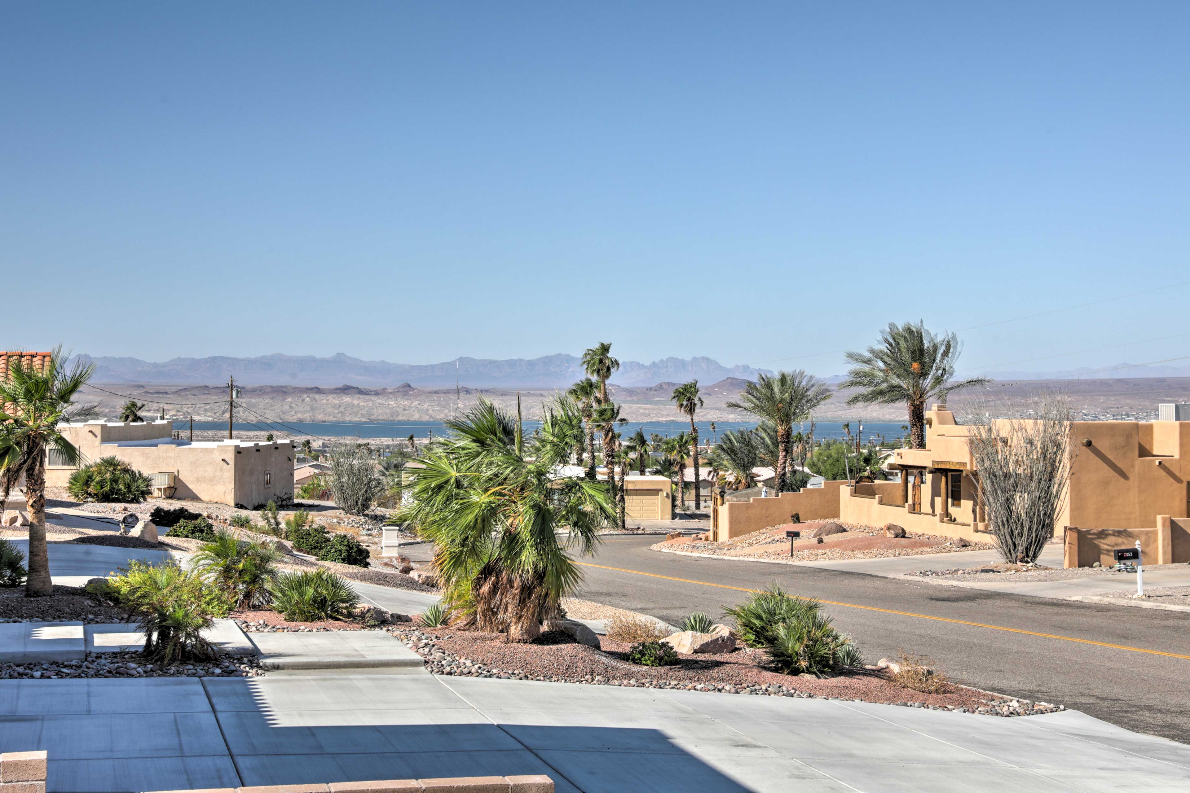 Soak in views of the lake and mountains!