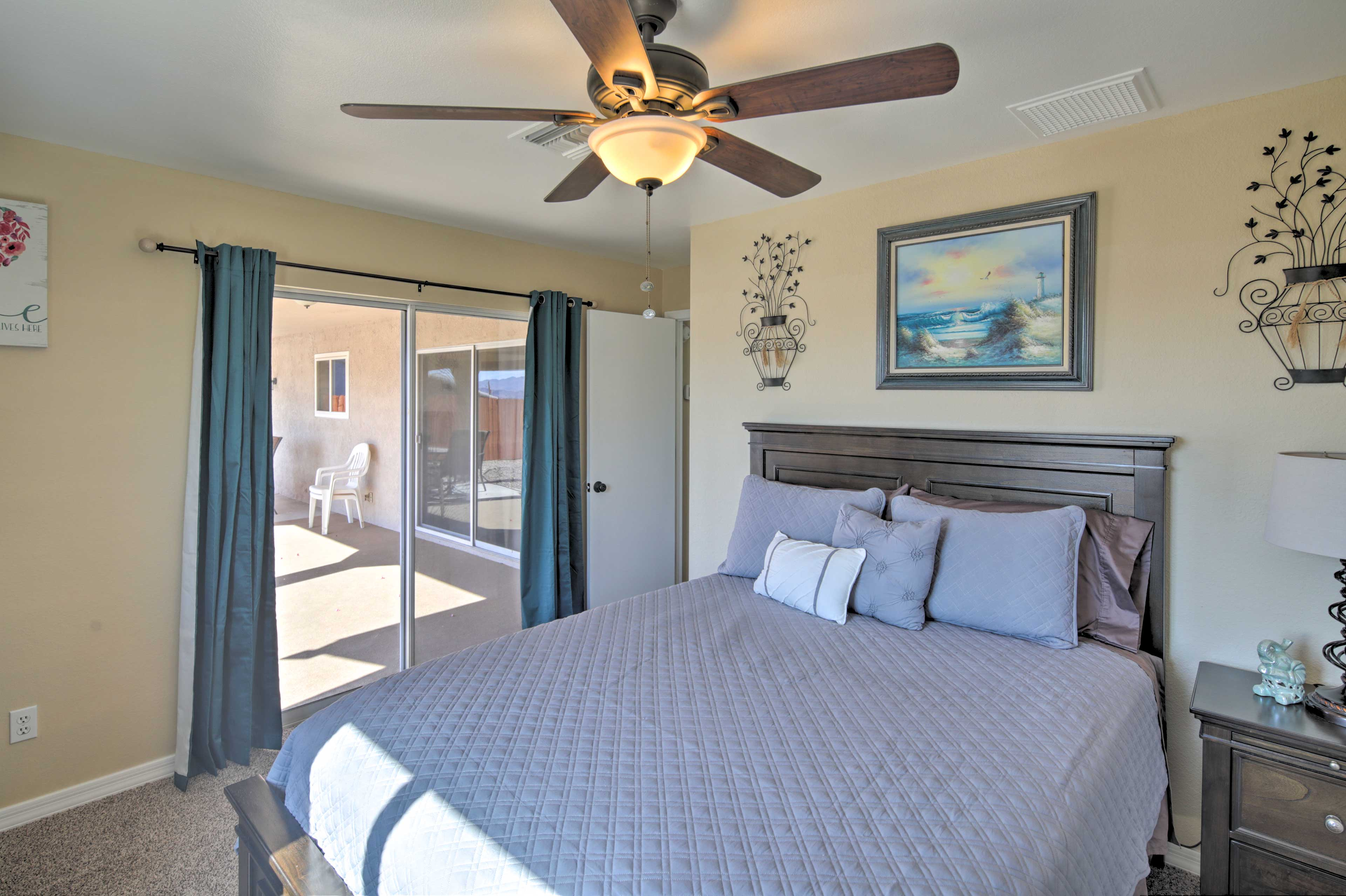 This second bedroom hosts a queen bed and lots of natural light!