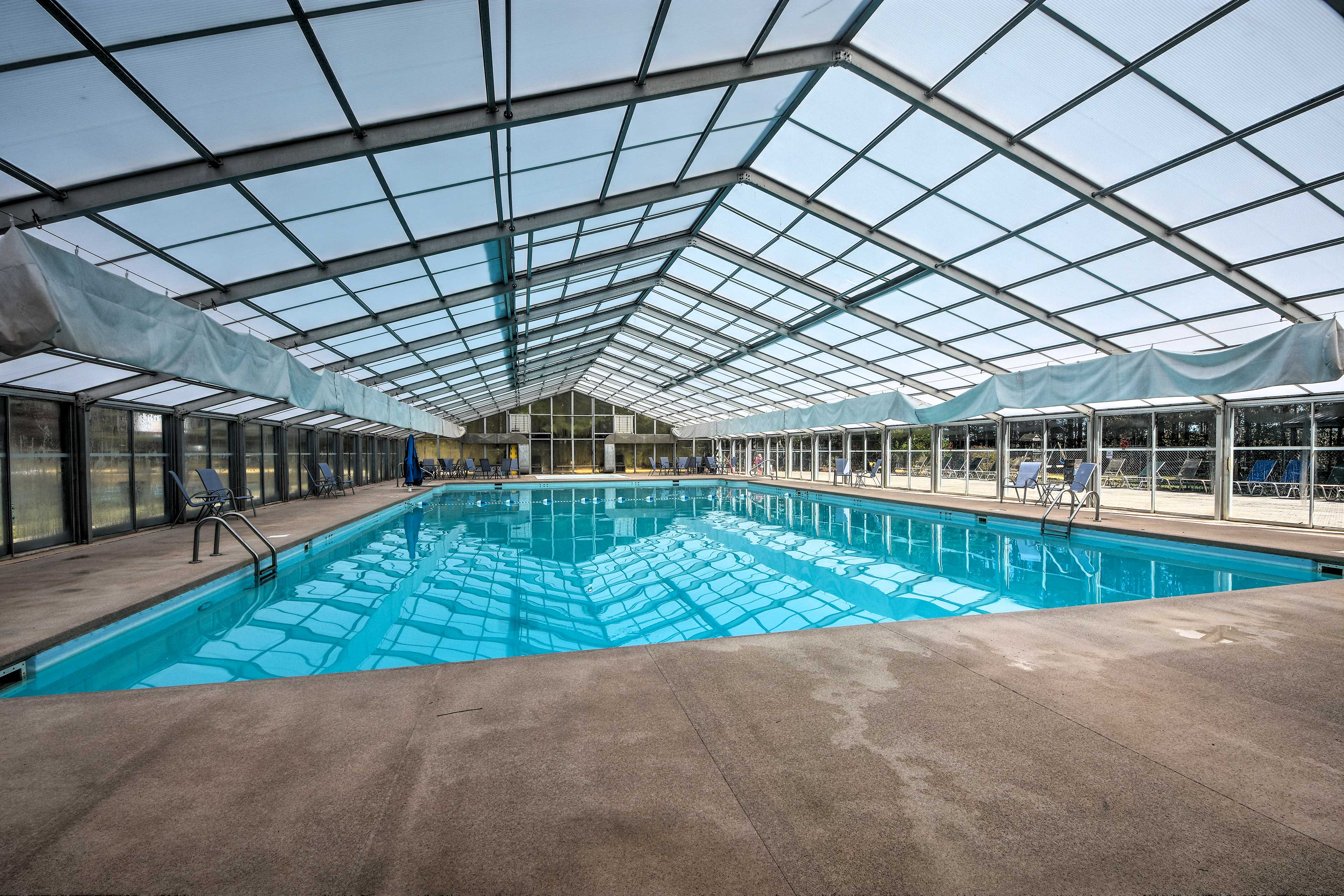 Splash around in the indoor community pool!