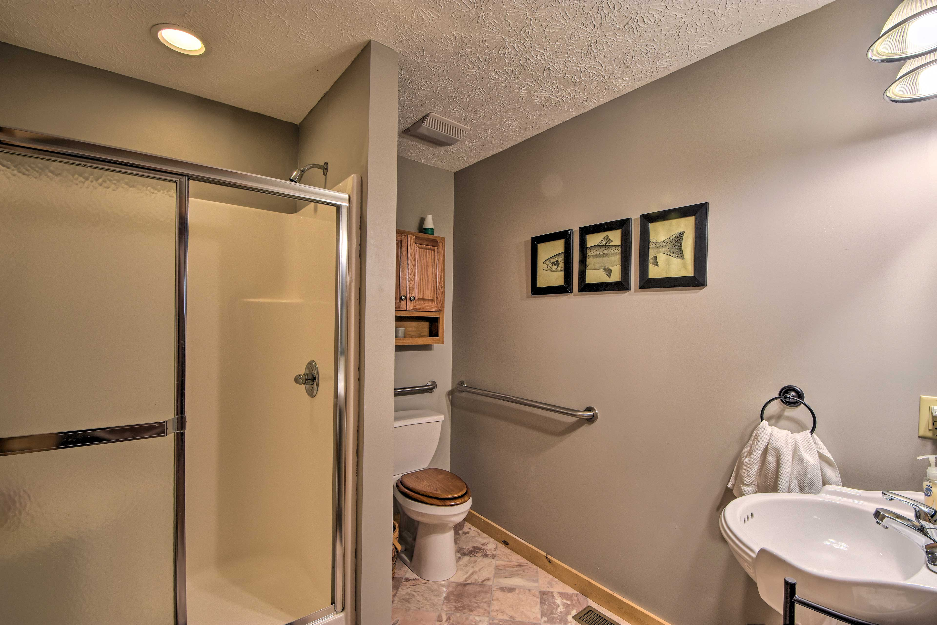 Rinse off in this full bathroom after your outdoor adventures.