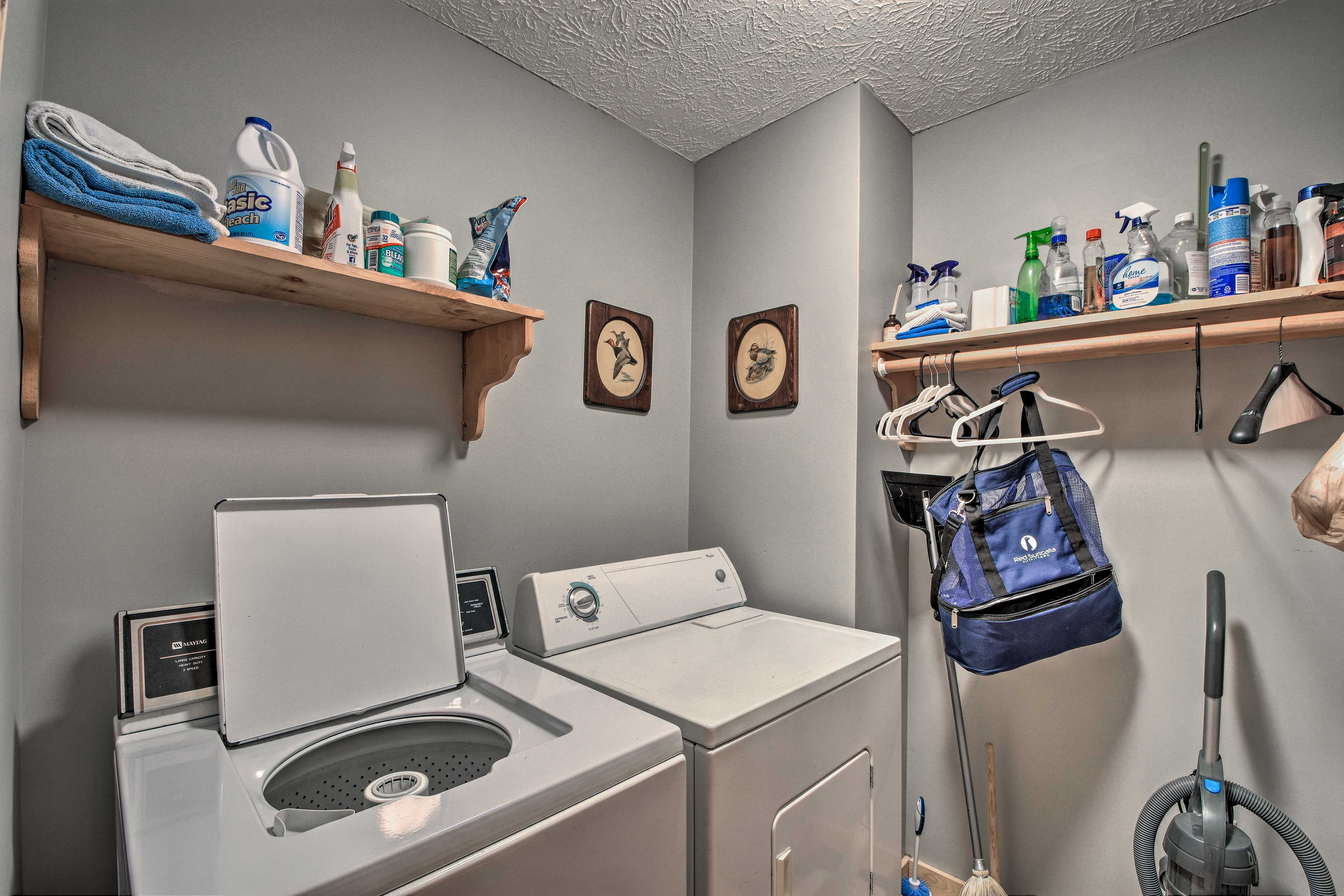Keep your clothes fresh and clean with the laundry machines.