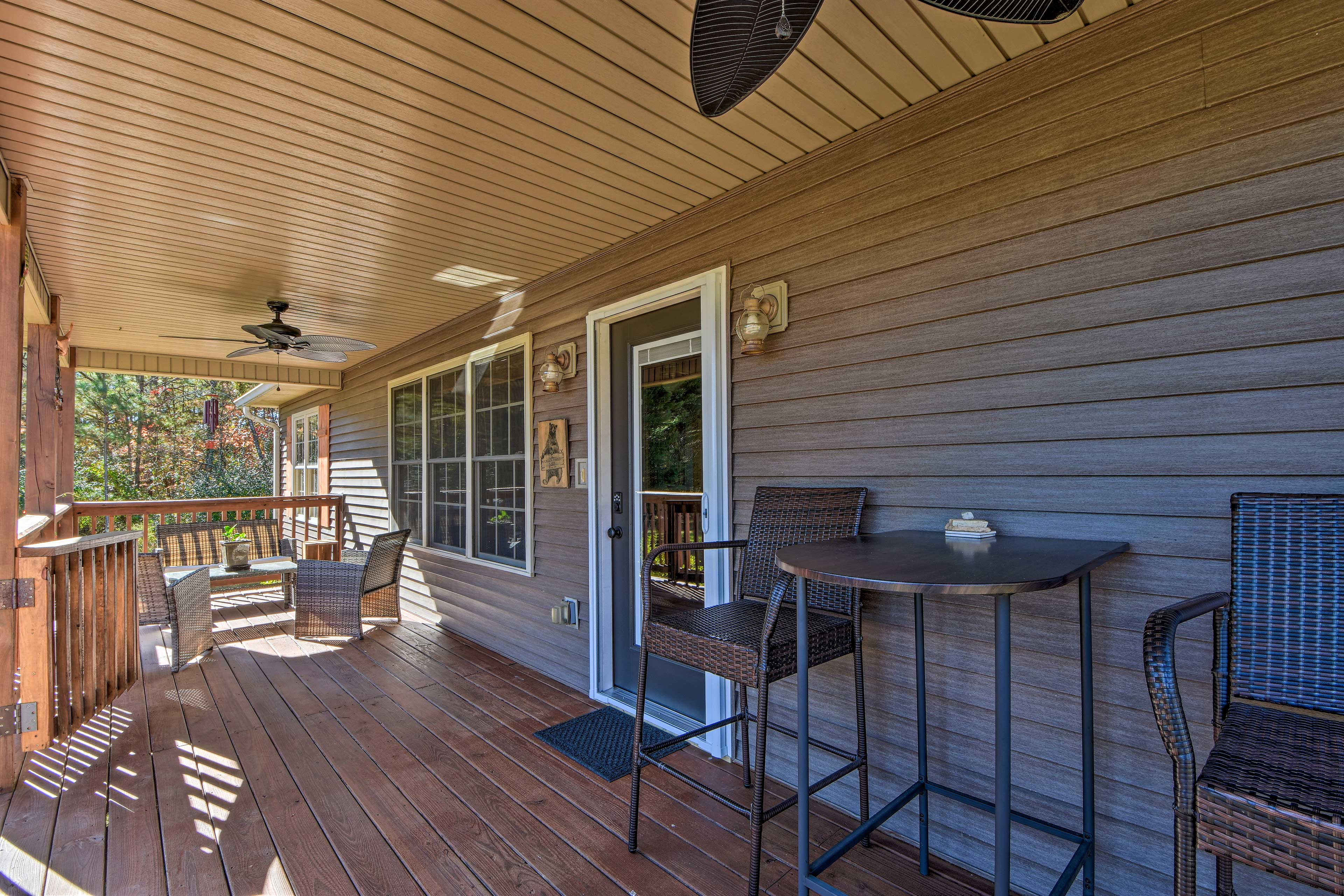 Enjoy your morning coffee on the covered front porch.