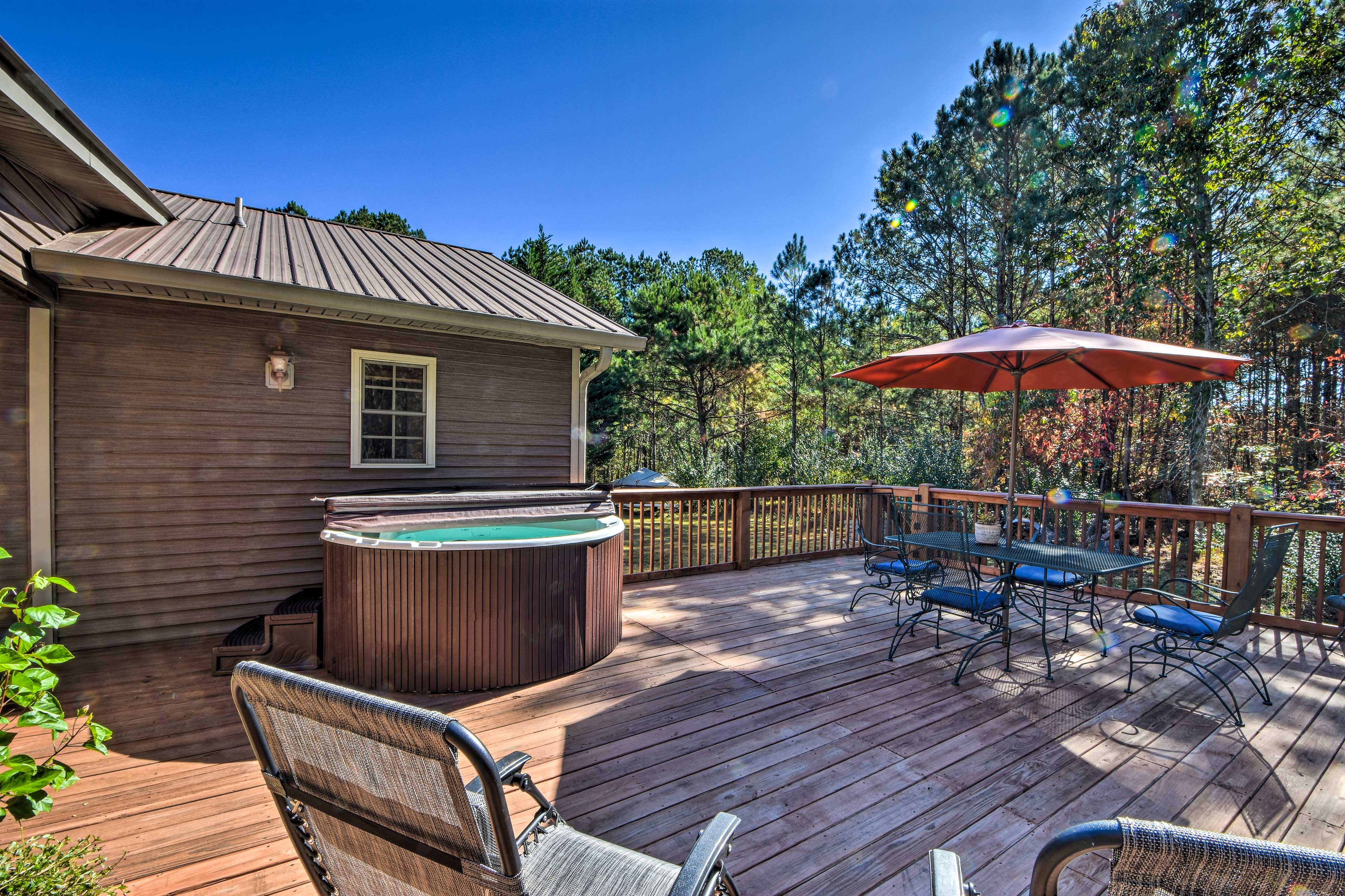 Soak in the private hot tub after a day full of hiking.