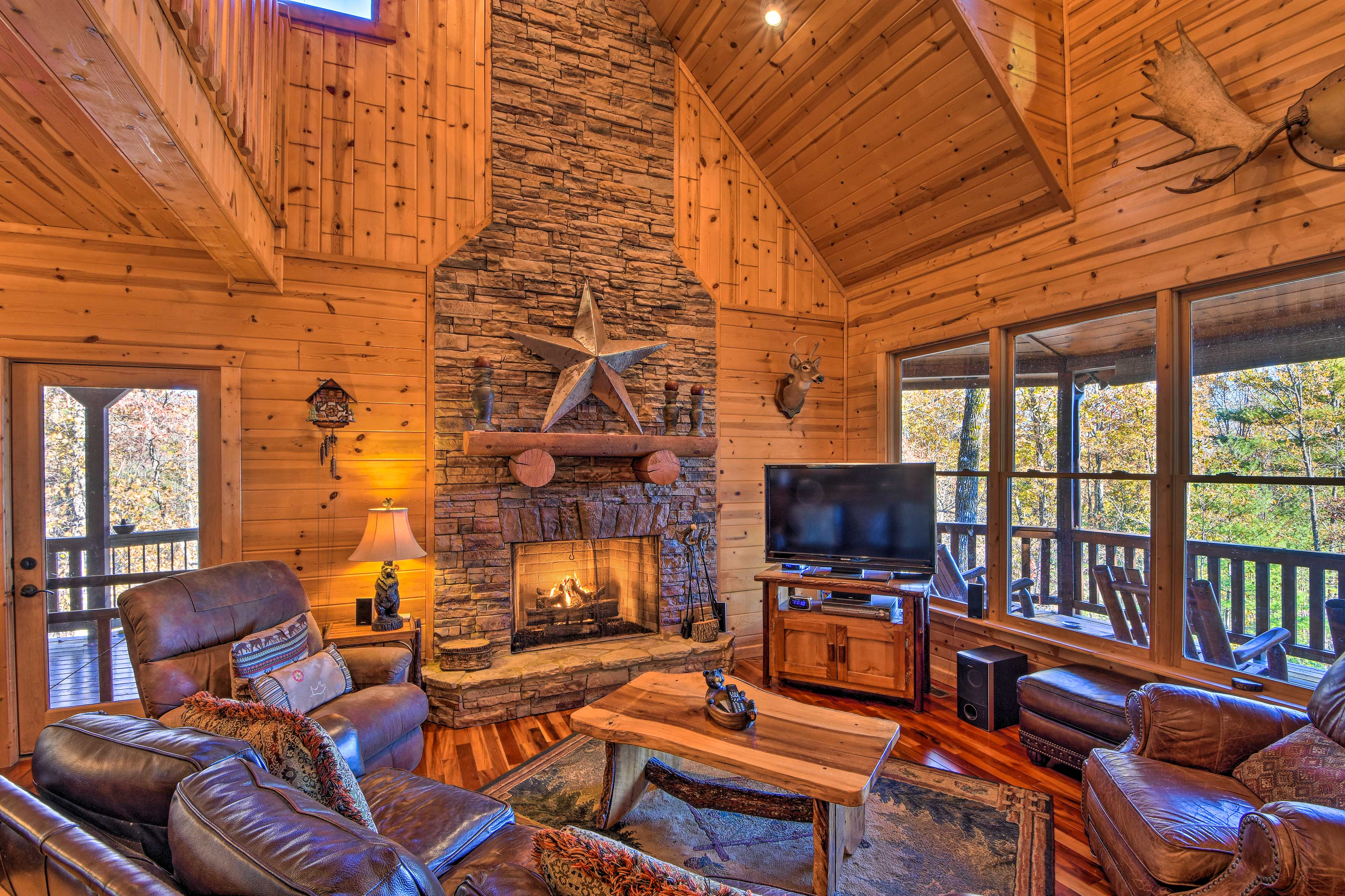Curl up by the fire and watch your favorite movies on the flat-screen cable TV.