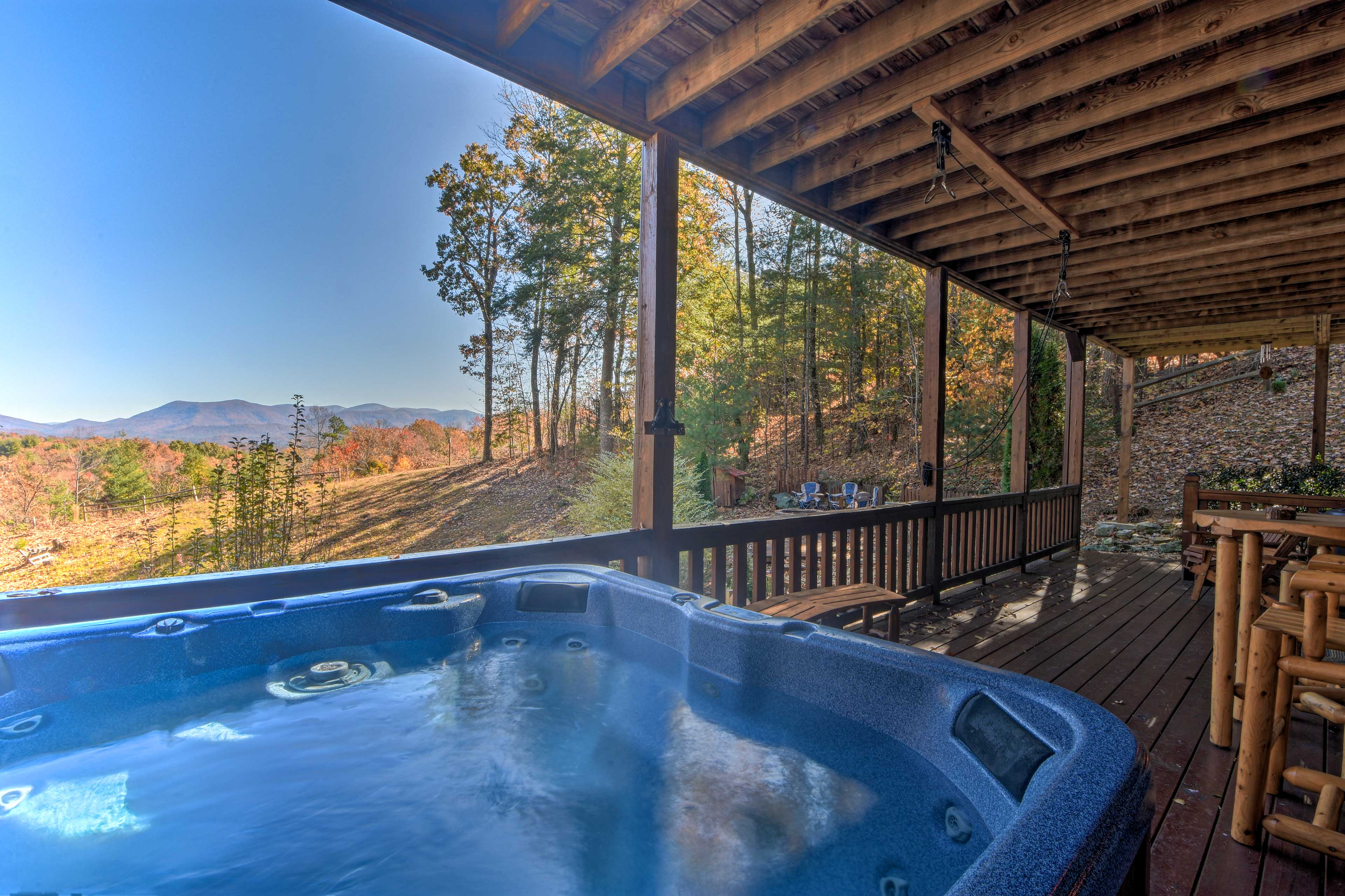 Soak in the hot tub and take in the stunning mountain views.