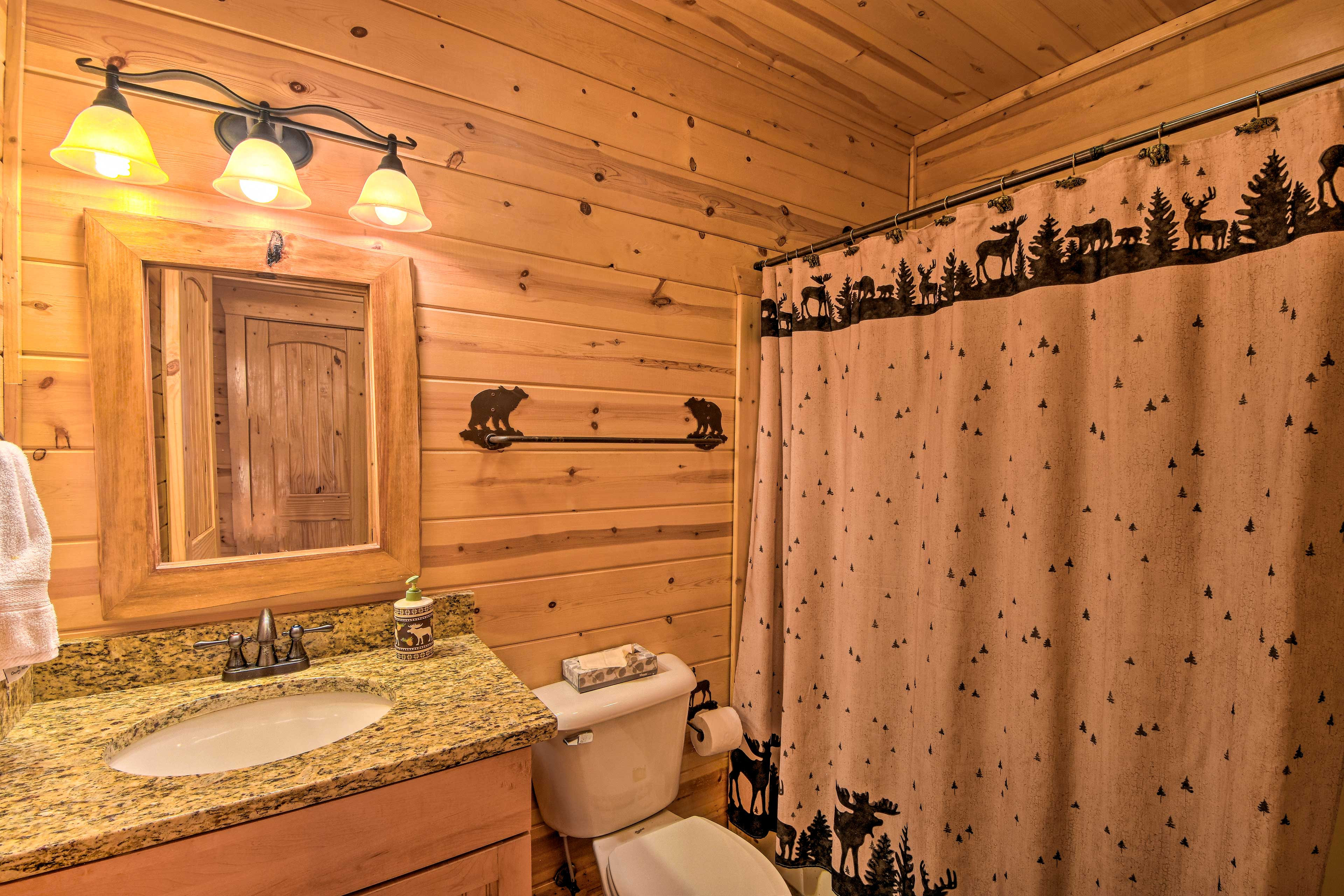 Rinse off in the third bath's shower/tub combo.