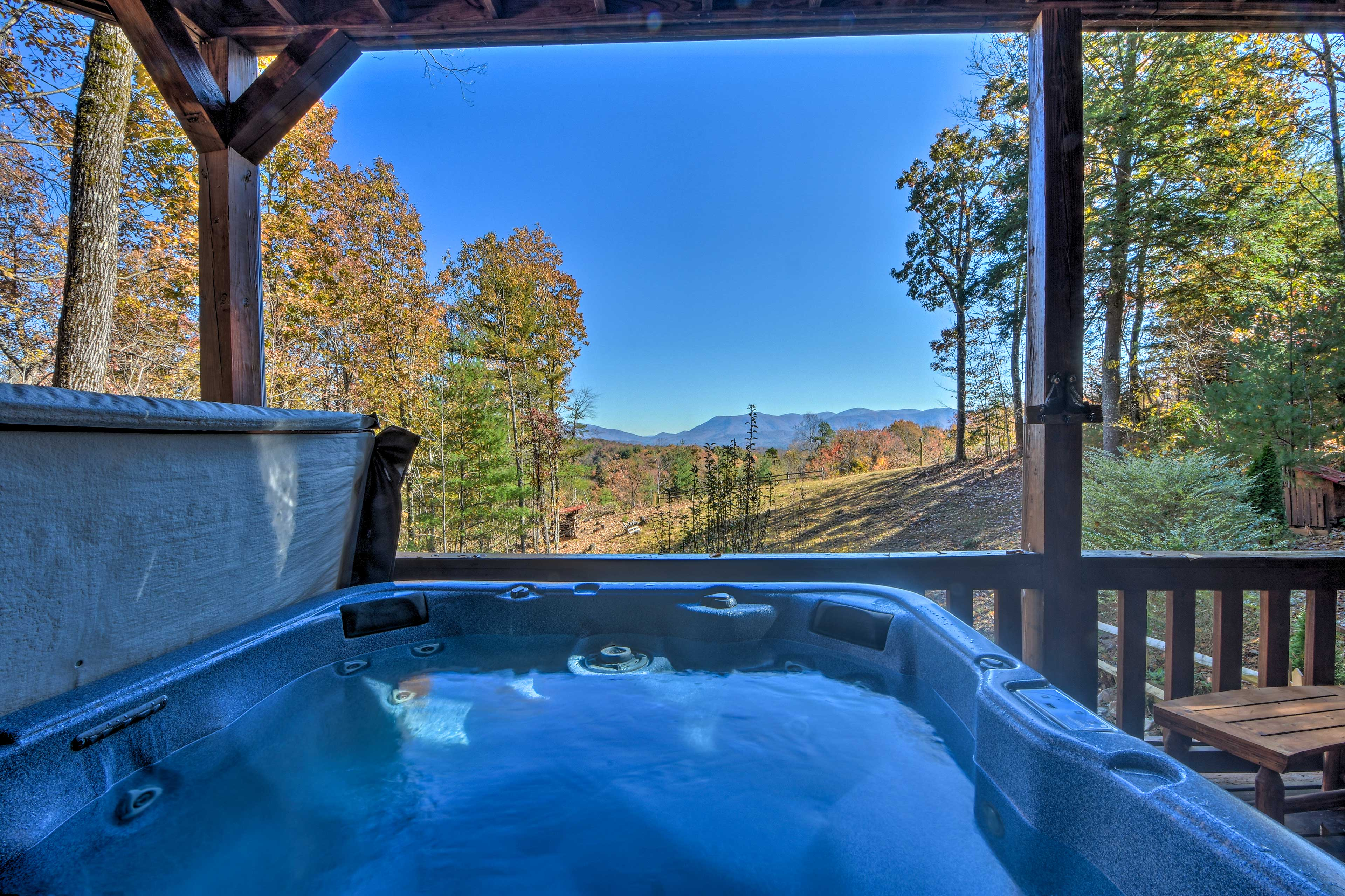 Admire the breathtaking mountain views from the privacy of your own hot tub.