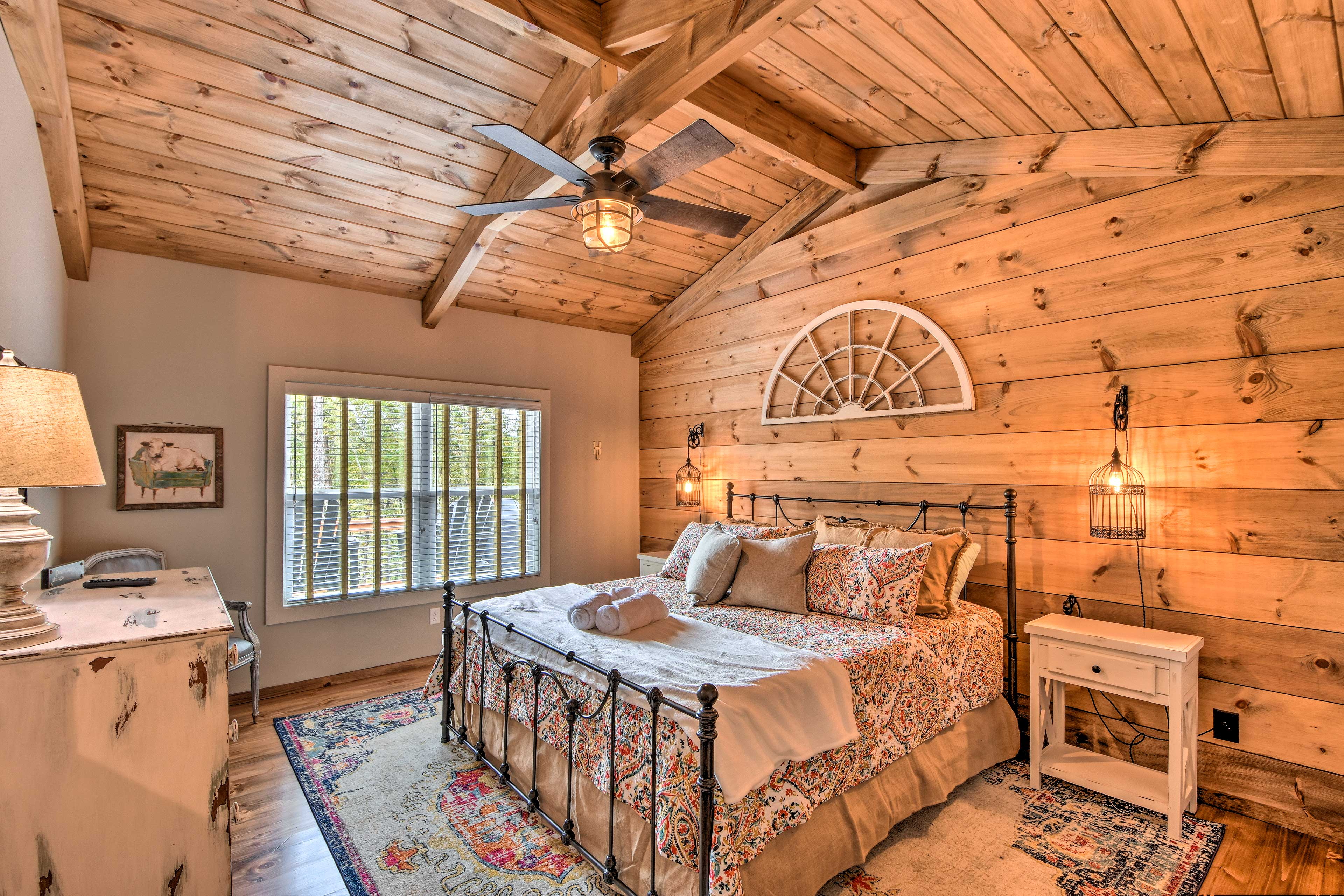 The home has 2 master bedrooms with king beds.