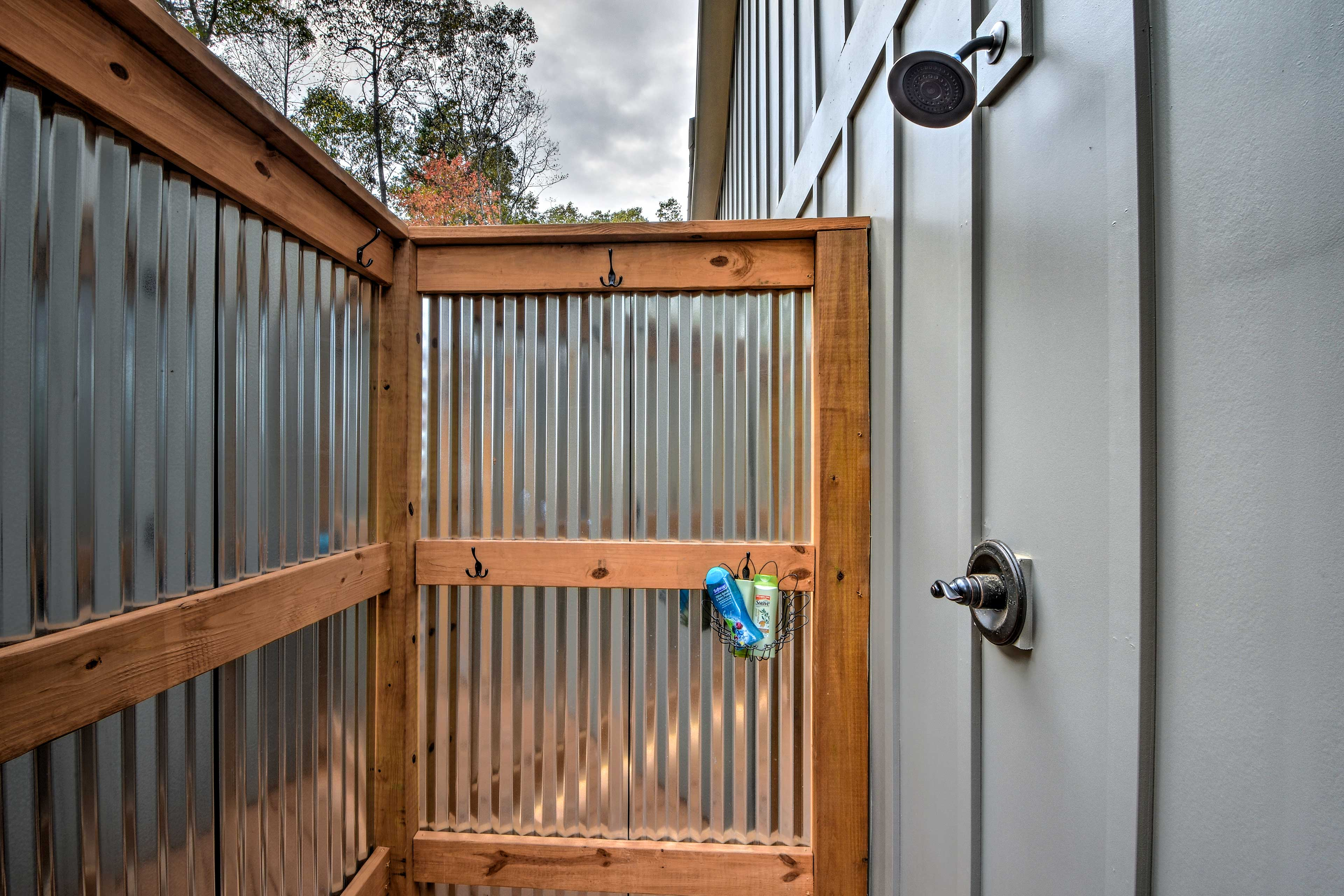 There's an outdoor shower for your convenience.
