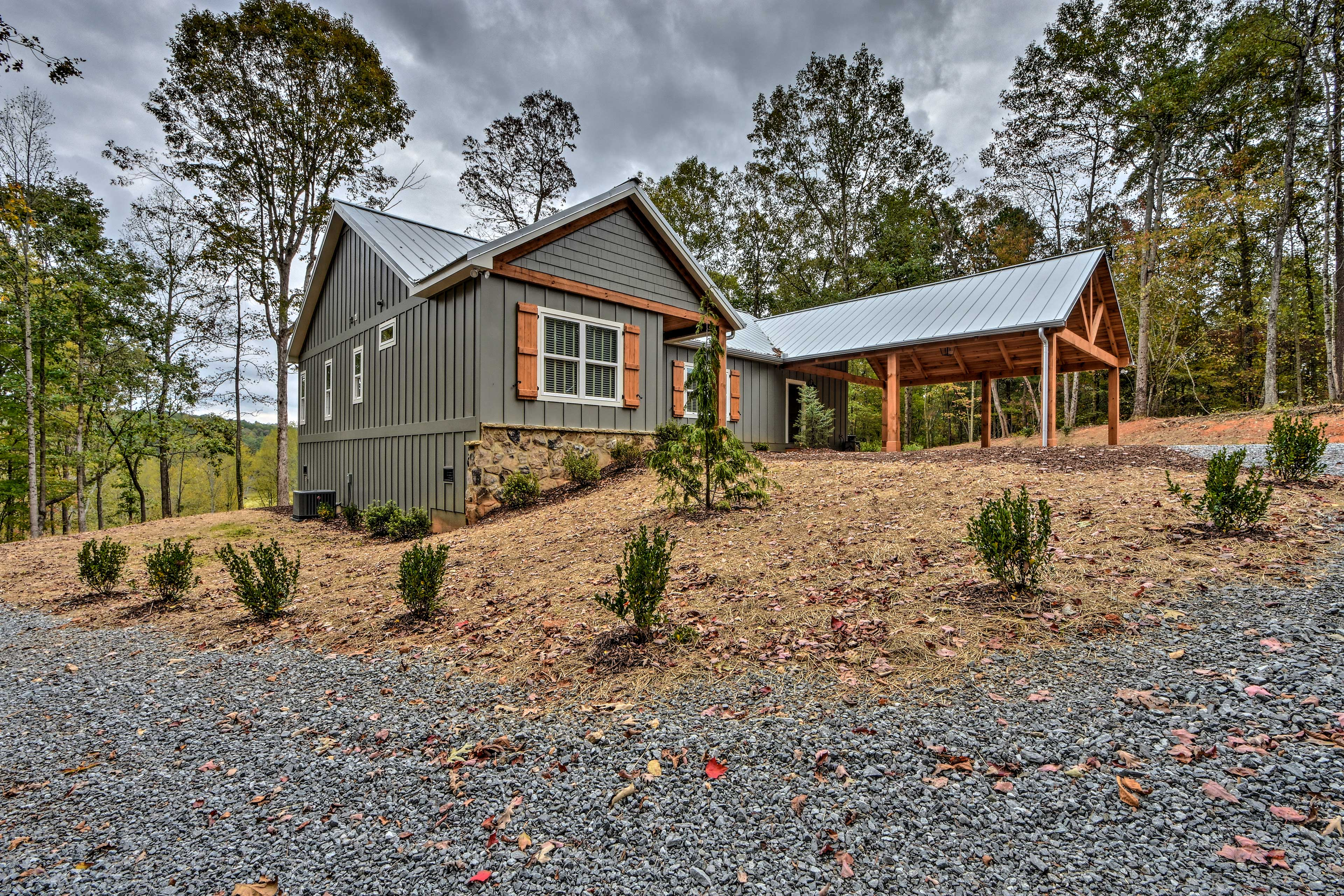 The home sits on 3.5 lush acres.