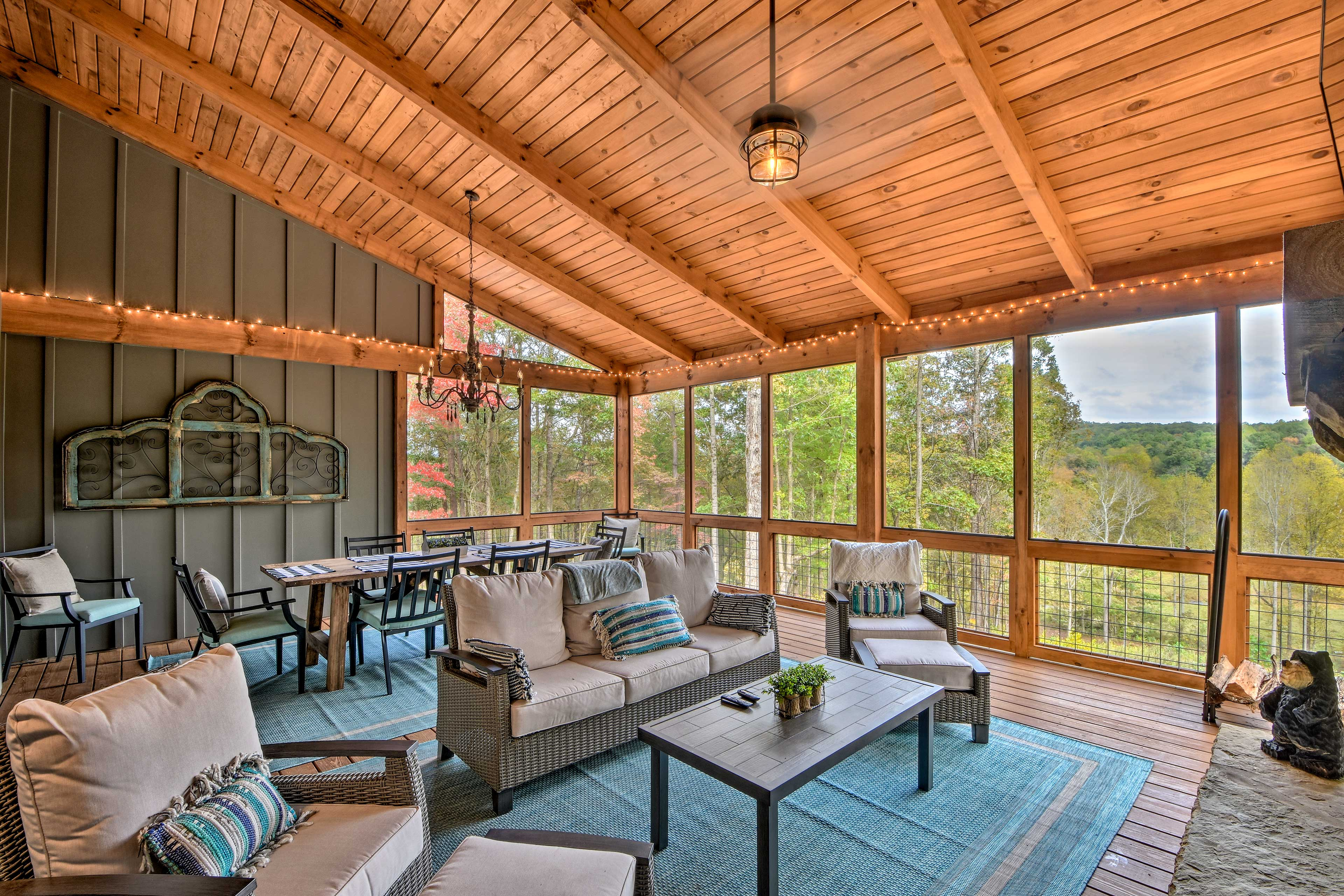 The porch has a wood-burning fireplace and a flat-screen TV!