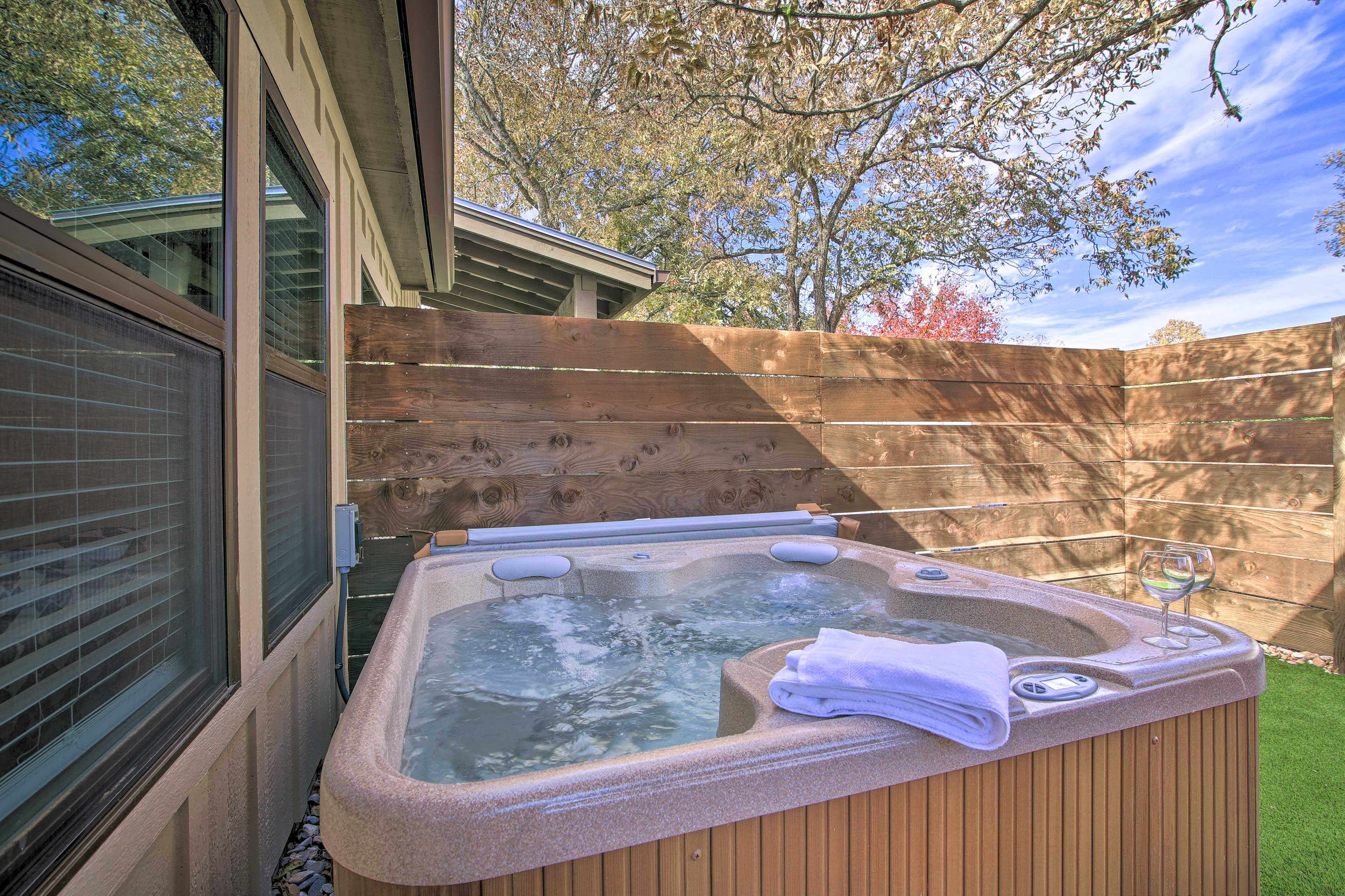 Unwind in the private hot tub after a day of fun in the sun!