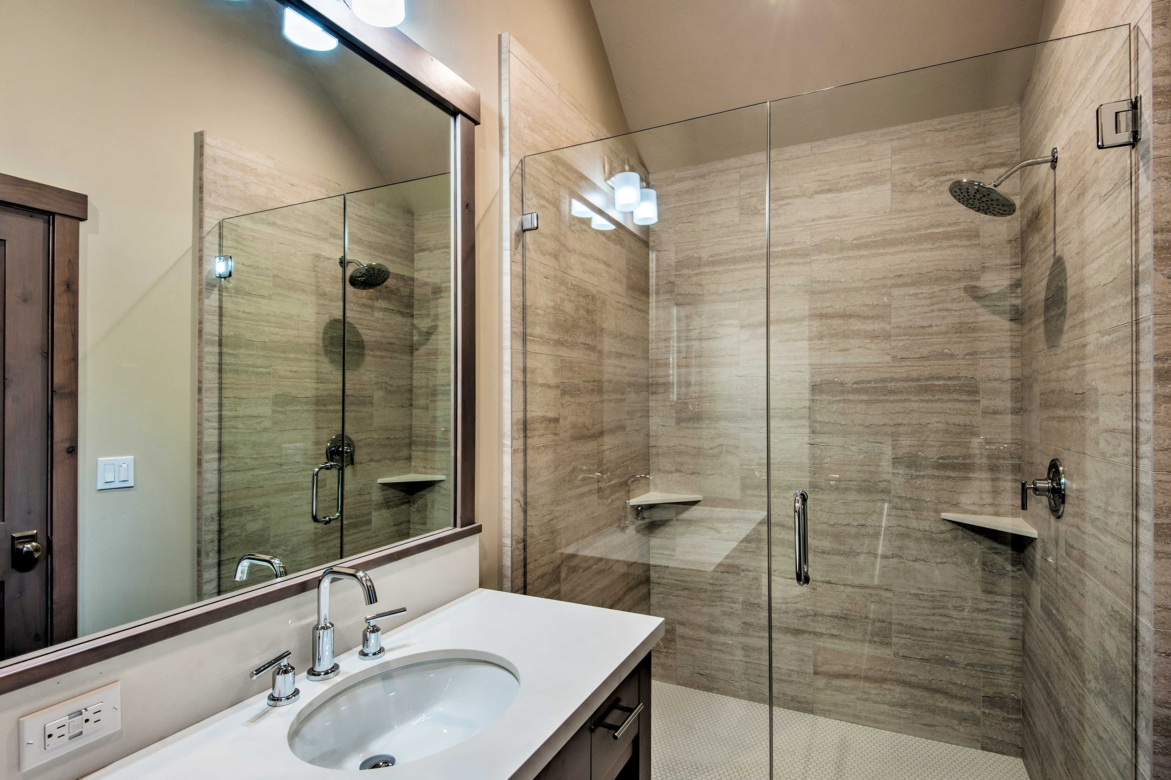 Rinse the day away in the walk-in shower.