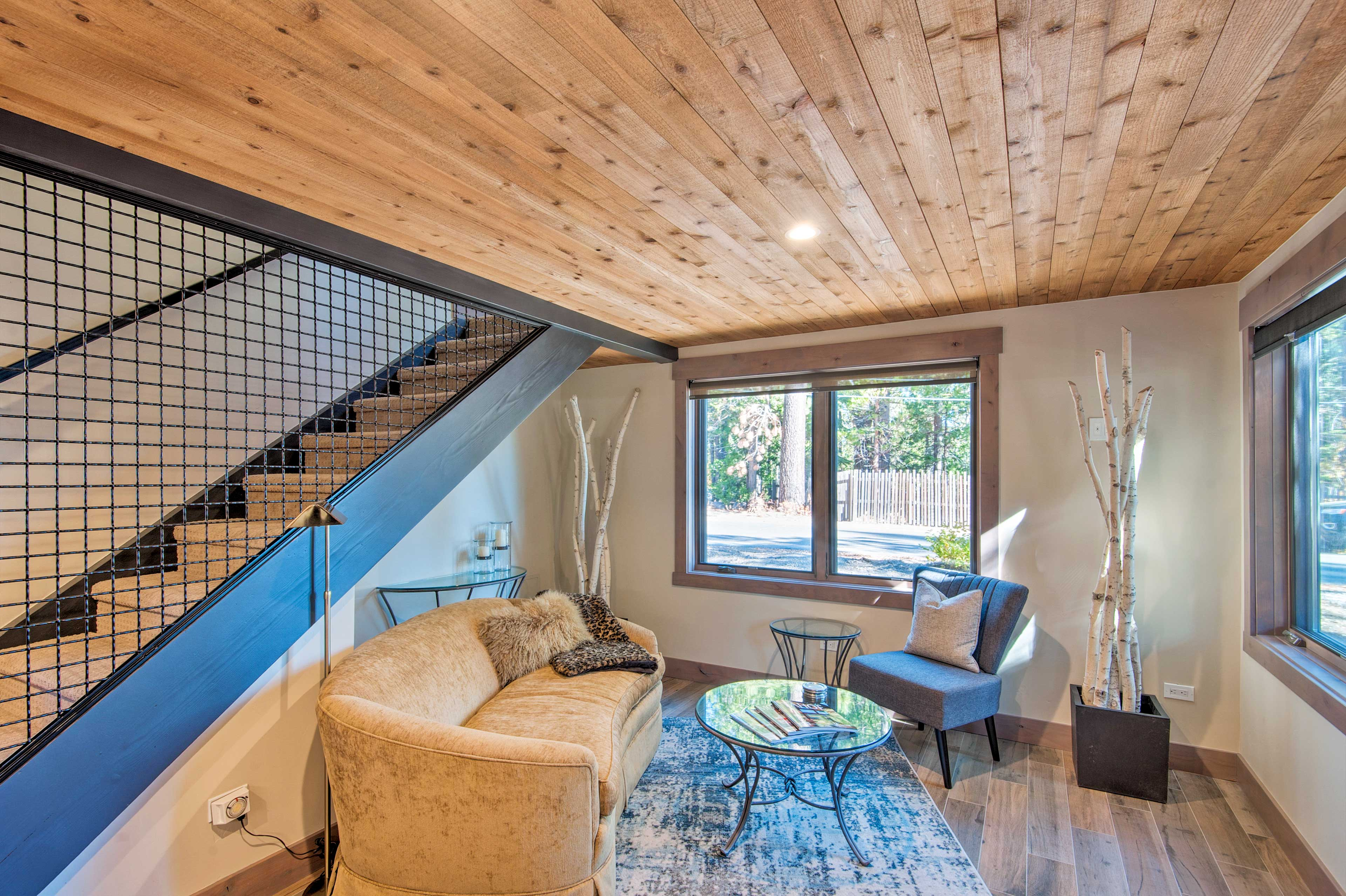 Inside, a newly renovated living space awaits.