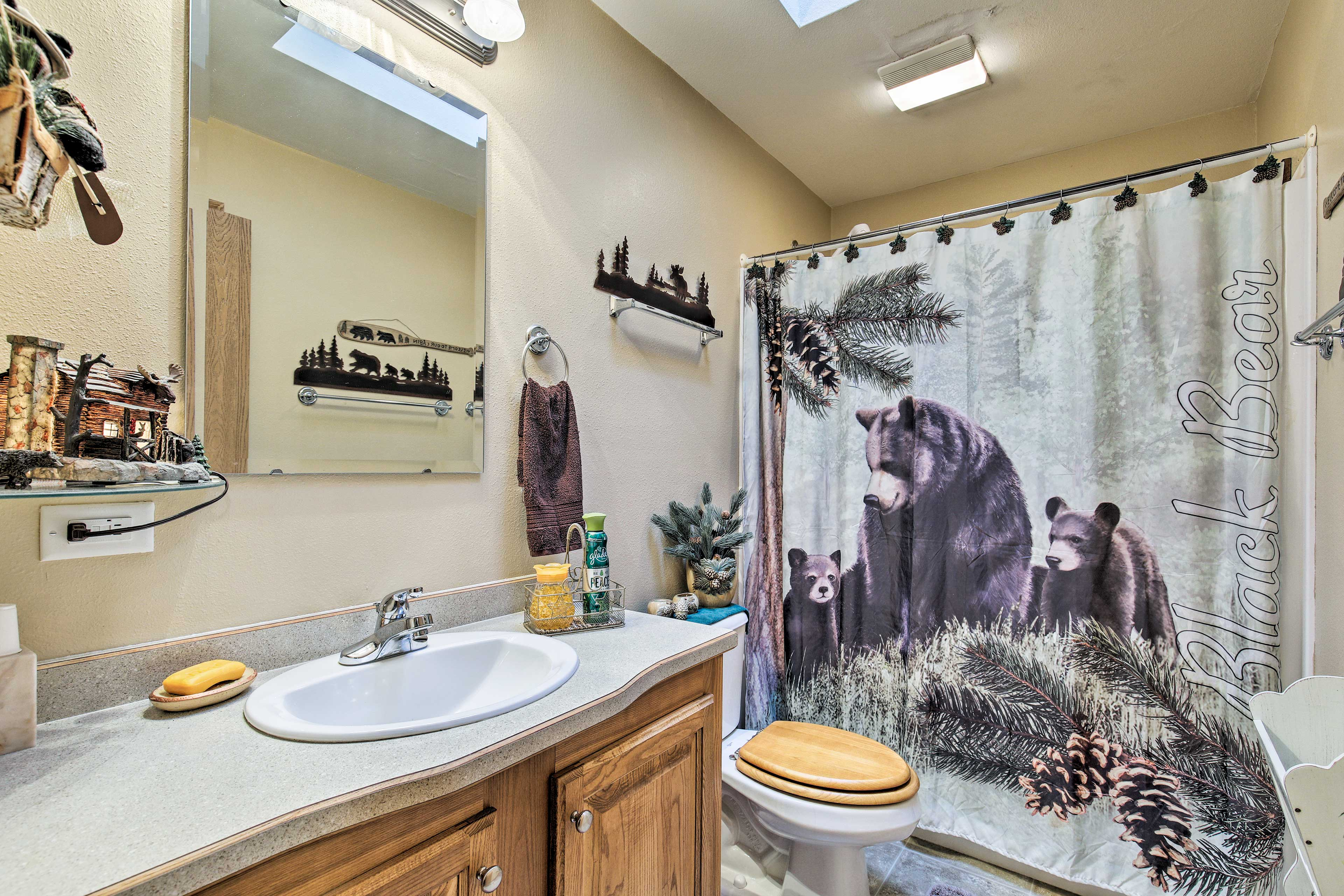 Shower off in this bear themed bathroom!