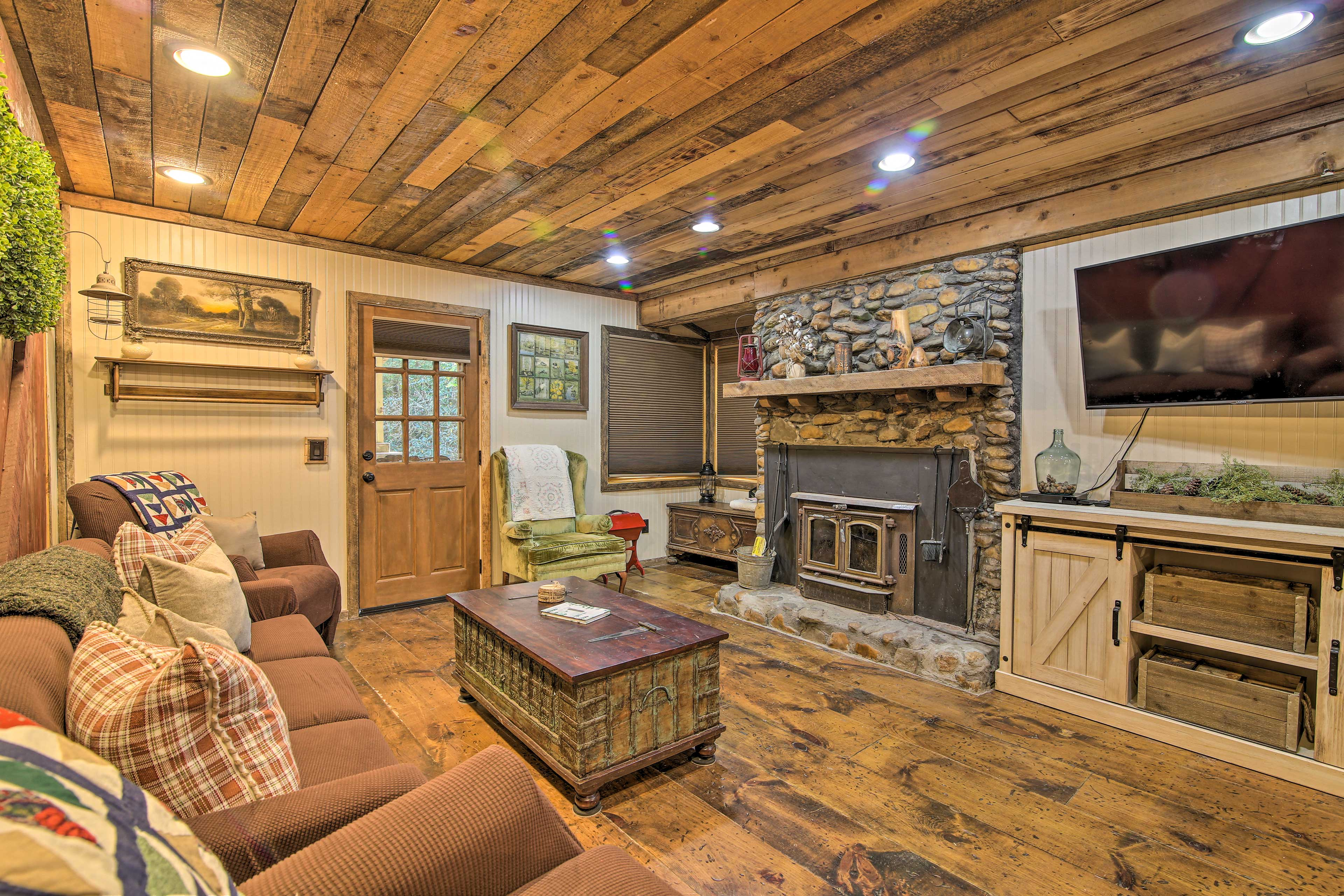 Spend quality time around the wood-burning fireplace with a movie or TV show.