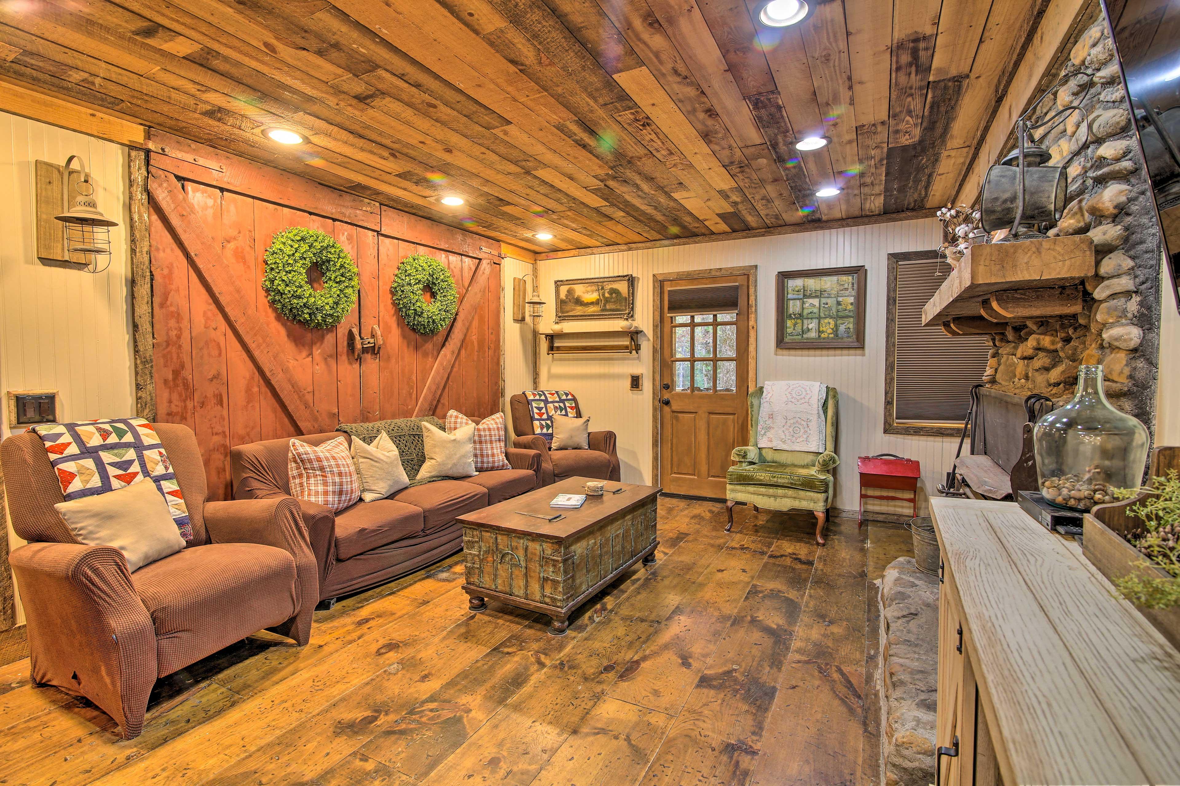 This farmhouse in the North Georgia Mountains still has its original barn doors!
