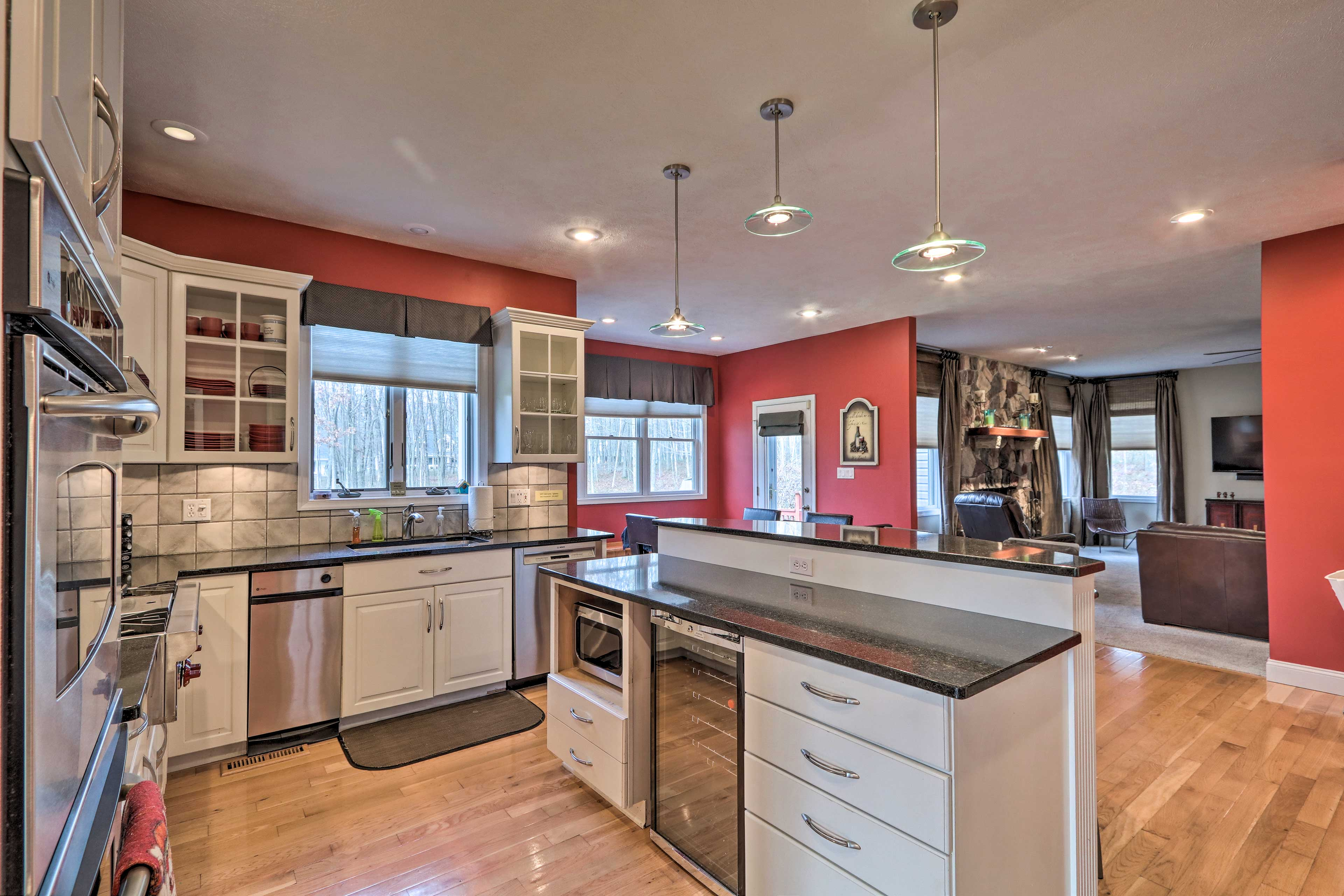 The fully equipped kitchen features everything you need for at-home cooking.
