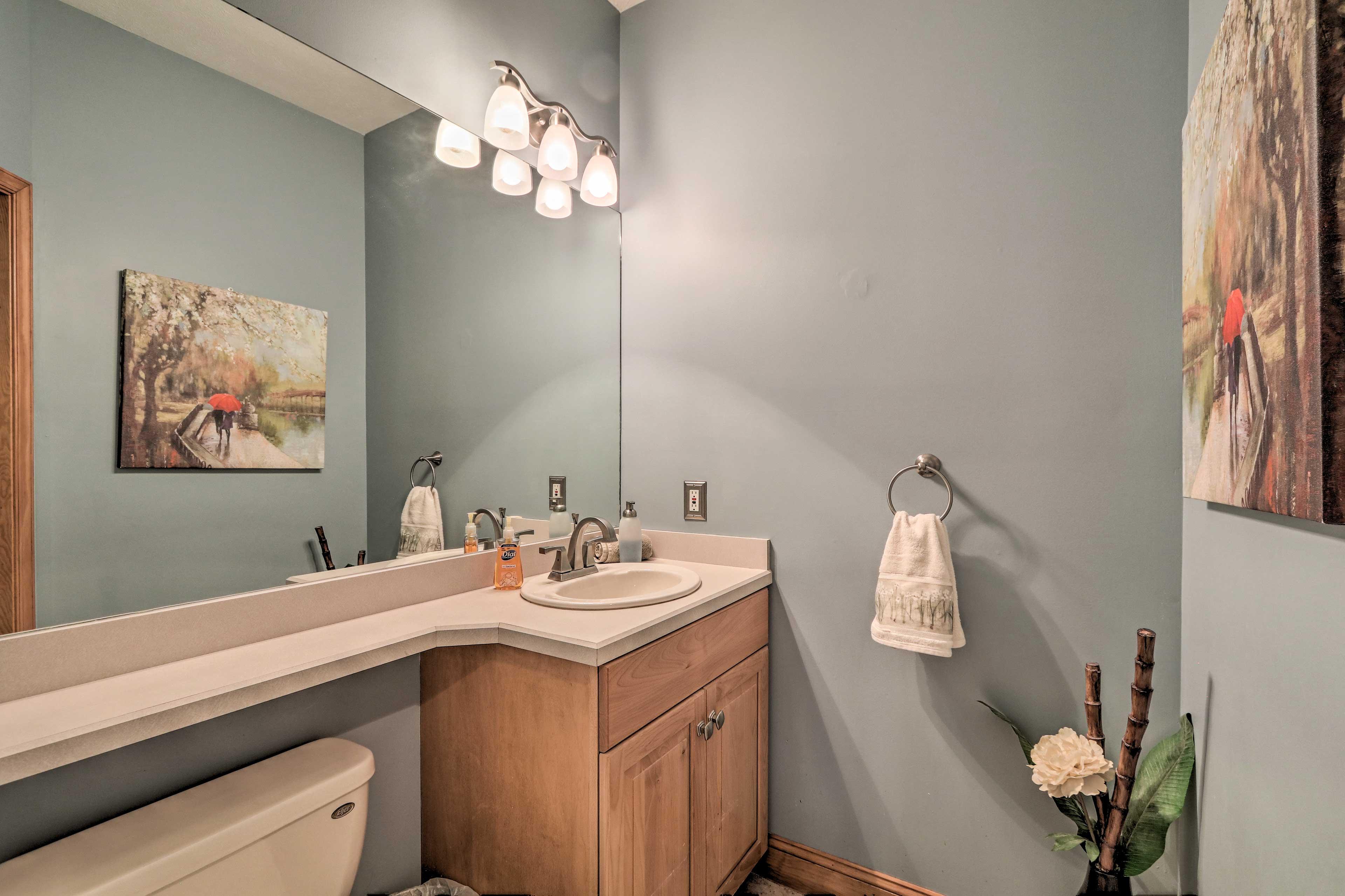 Freshen up in the half bathroom.
