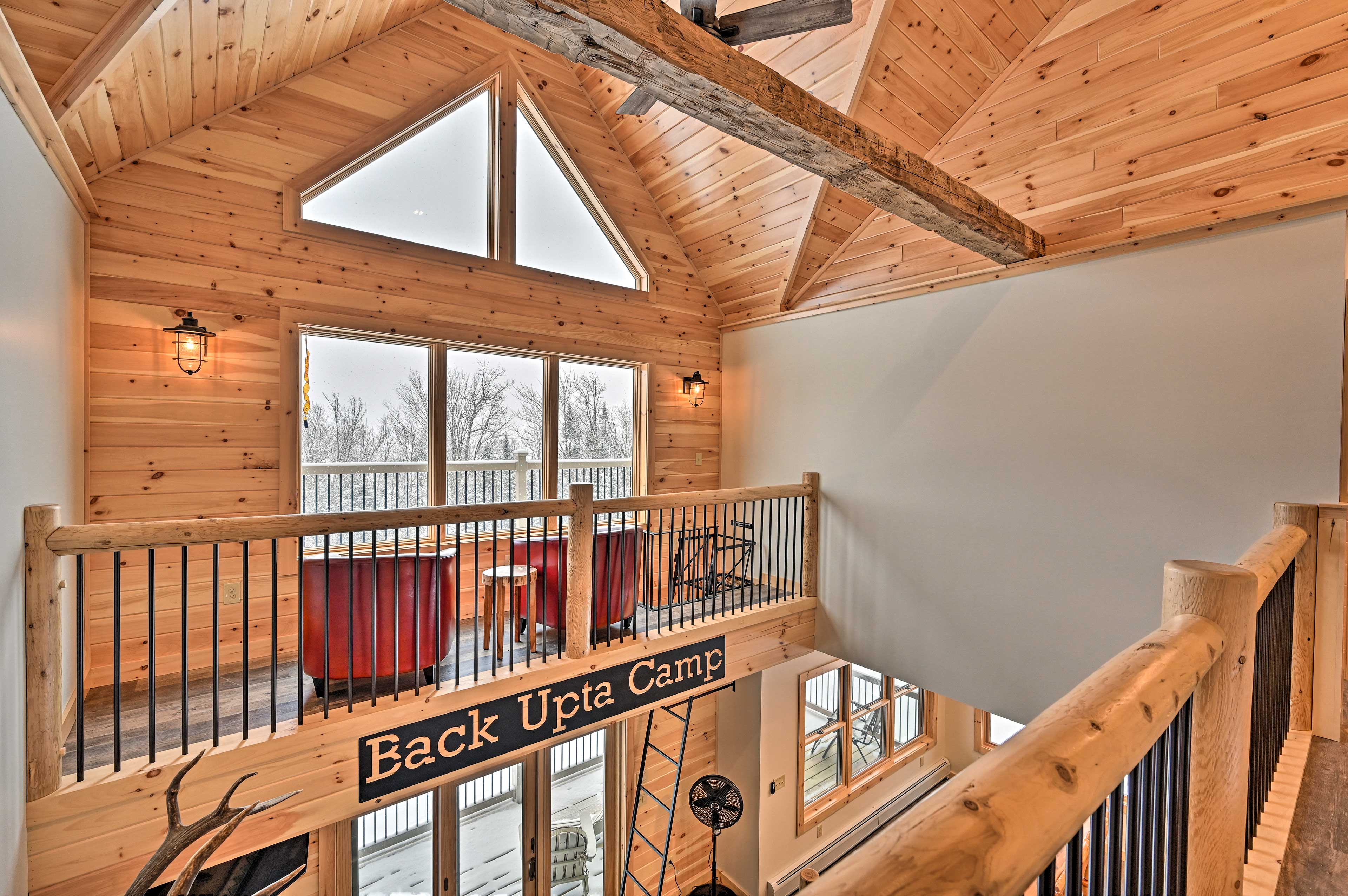 Drink your coffee in the lofted space overlooking the lake.