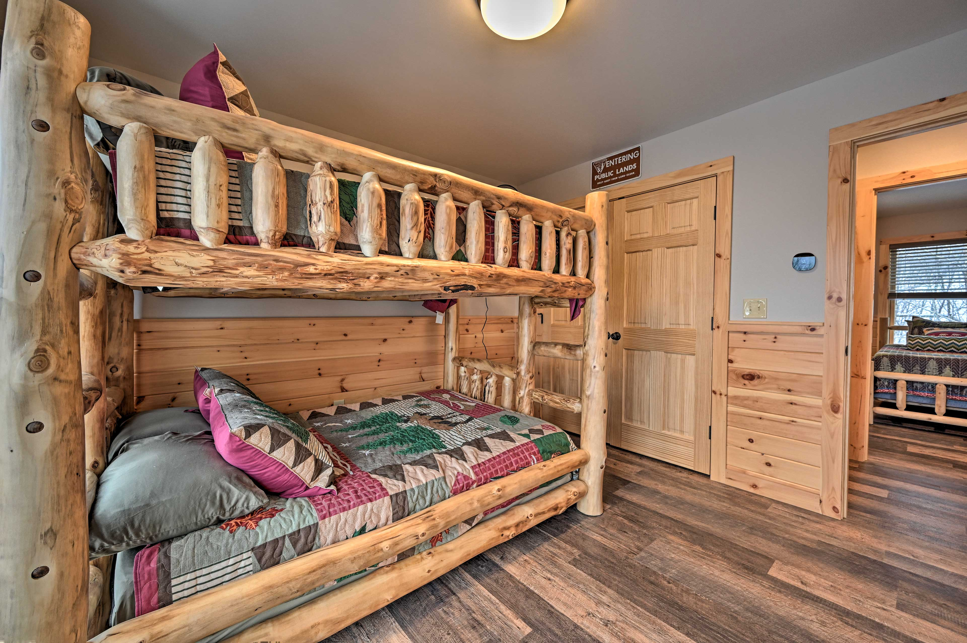 Be first to call dibs on the top or bottom full bunk.