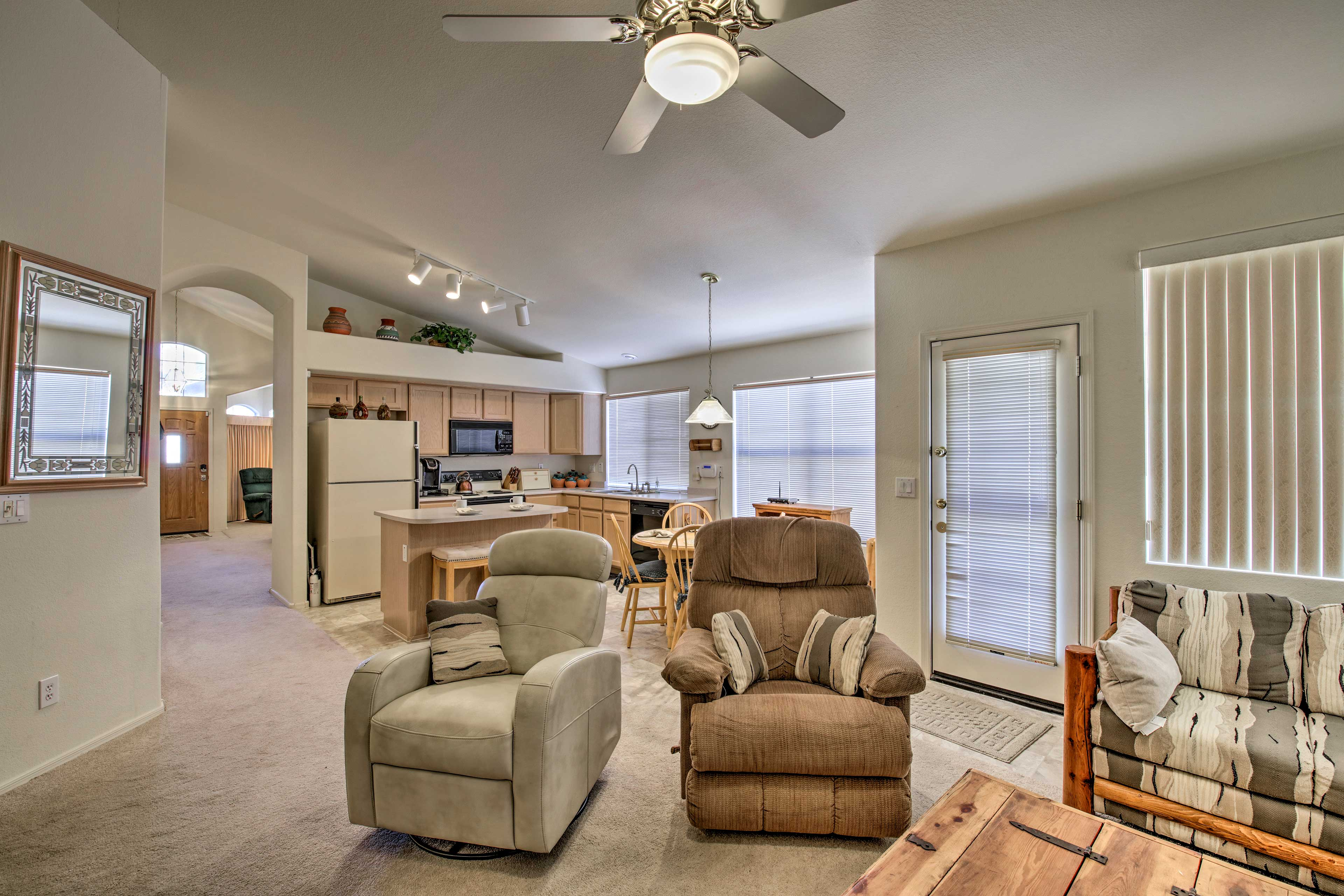 Lounge around in the living room, which has plenty of room for 6 guests.