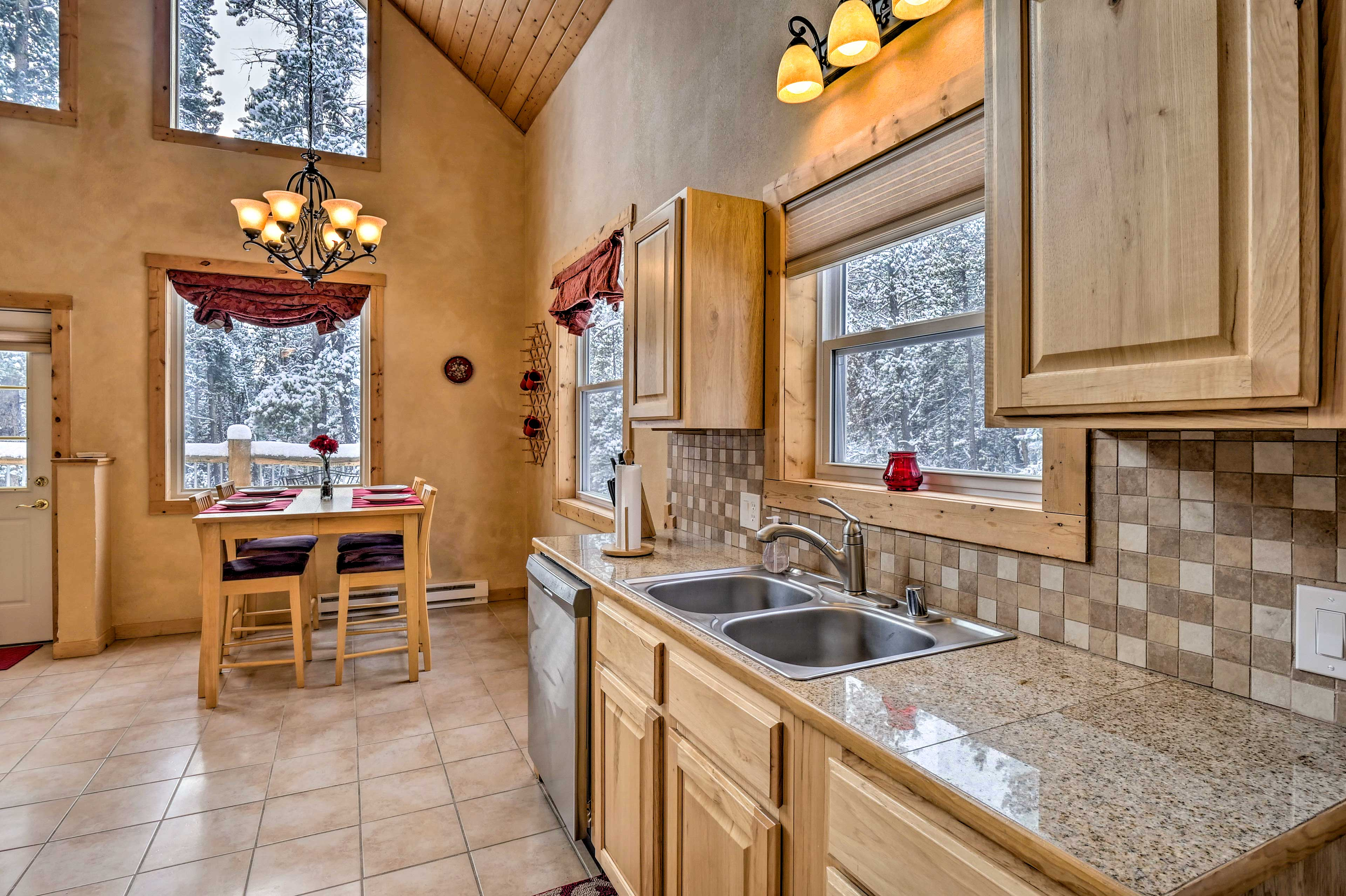 The spacious kitchen allows for easy meal collaboration.