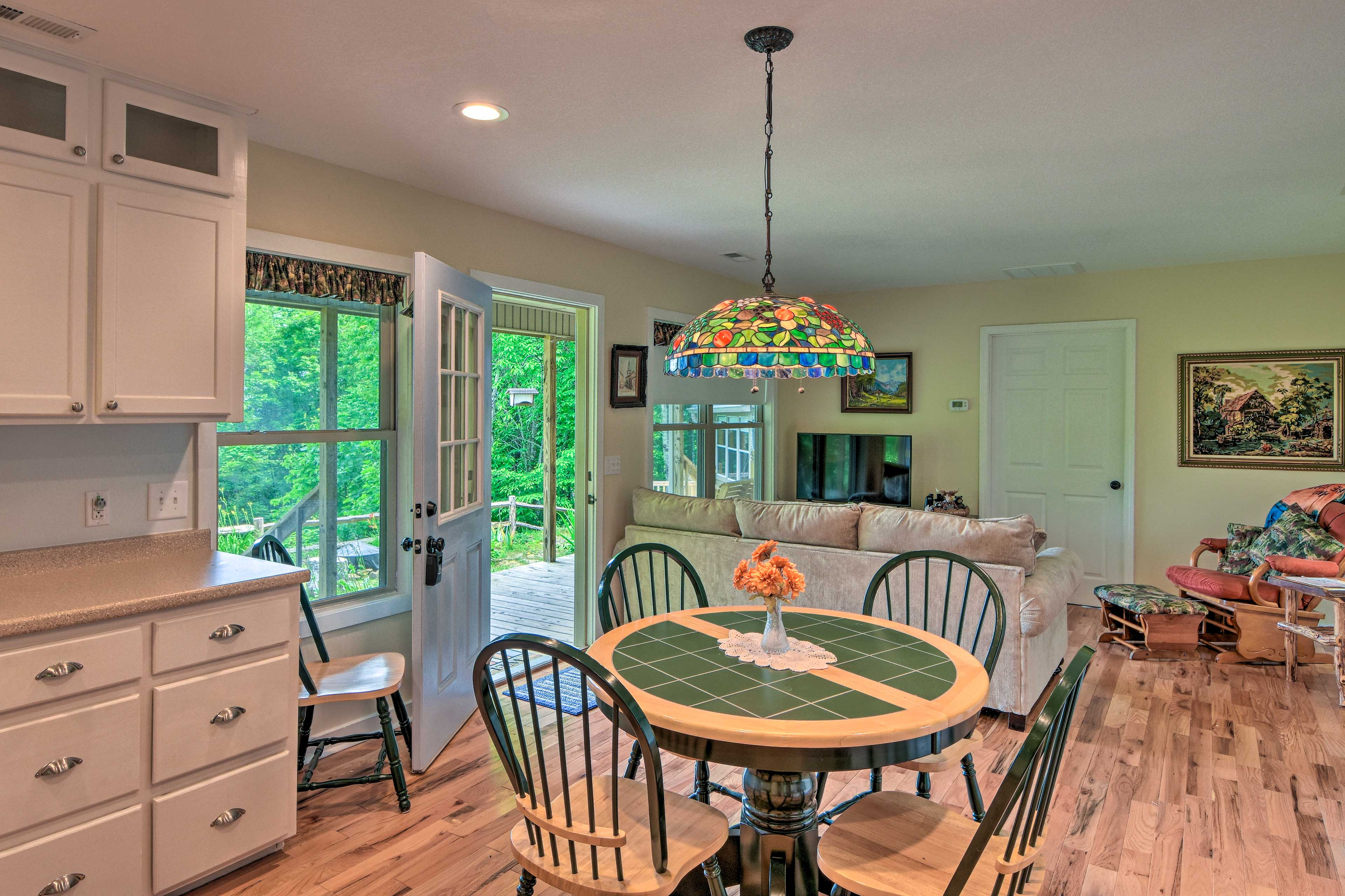 The charming cottage sleeps up to 4 guests comfortably.