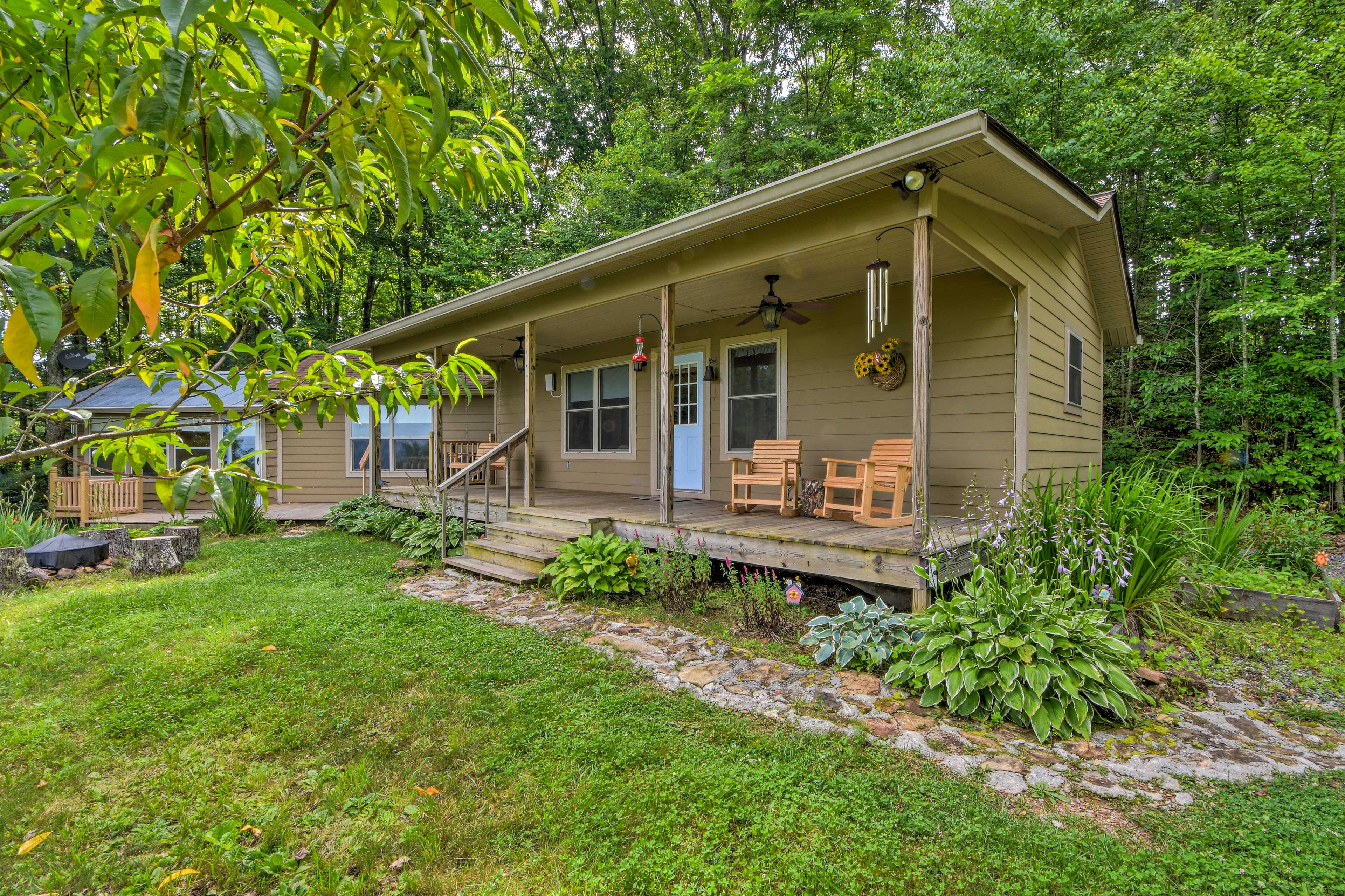The 2-bedroom, 2-bath vacation rental sits on 6 private acres.
