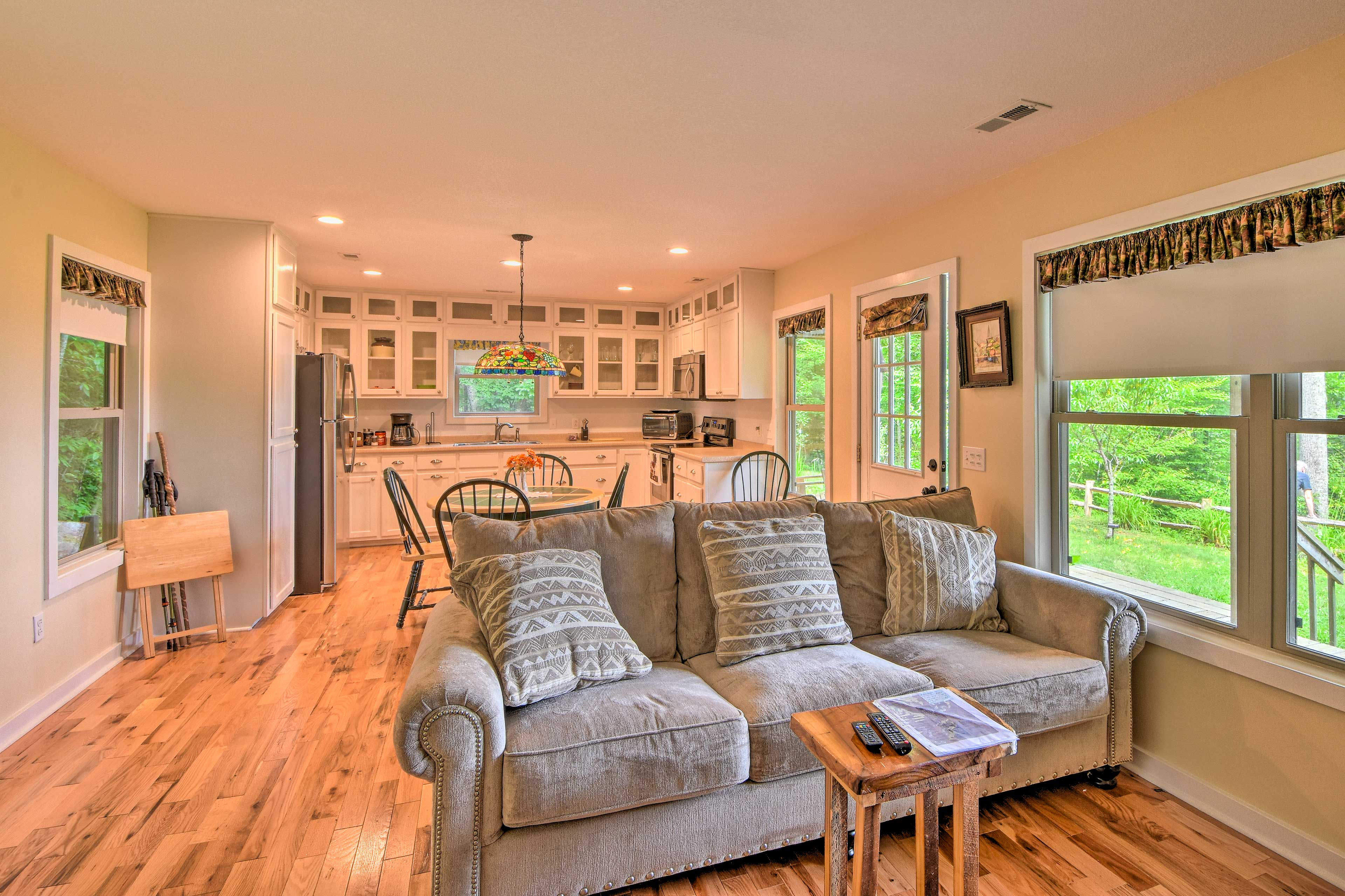 The open floor plan allows the conversations to keep flowing.